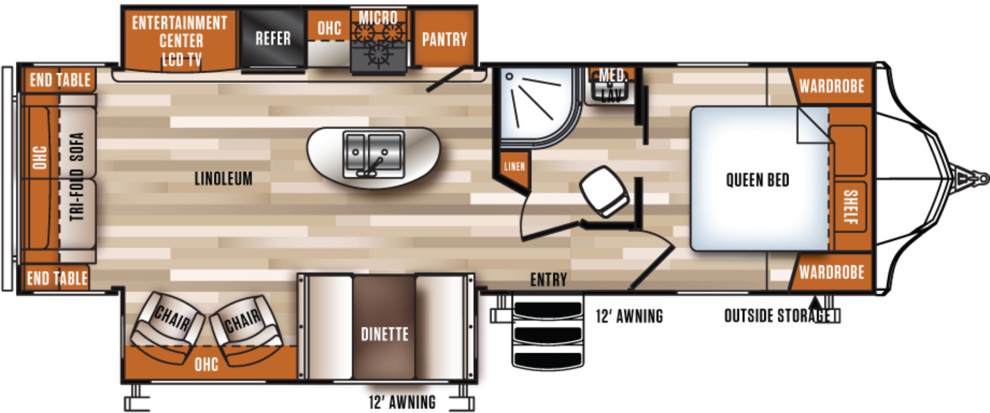 View Floor Plan for 2017 FOREST RIVER VIBE 288RLS