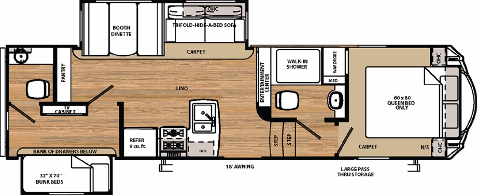 View Floor Plan for 2017 FOREST RIVER SIERRA HT 3350BH