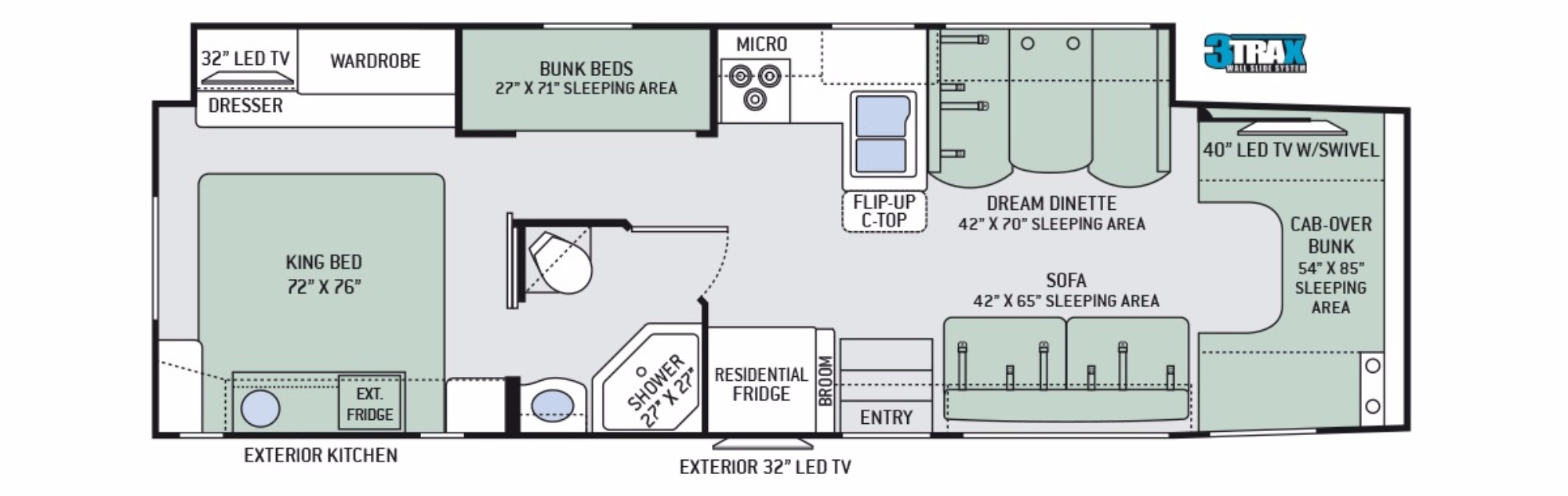 View Floor Plan for 2018 THOR FOUR WINDS 35SB
