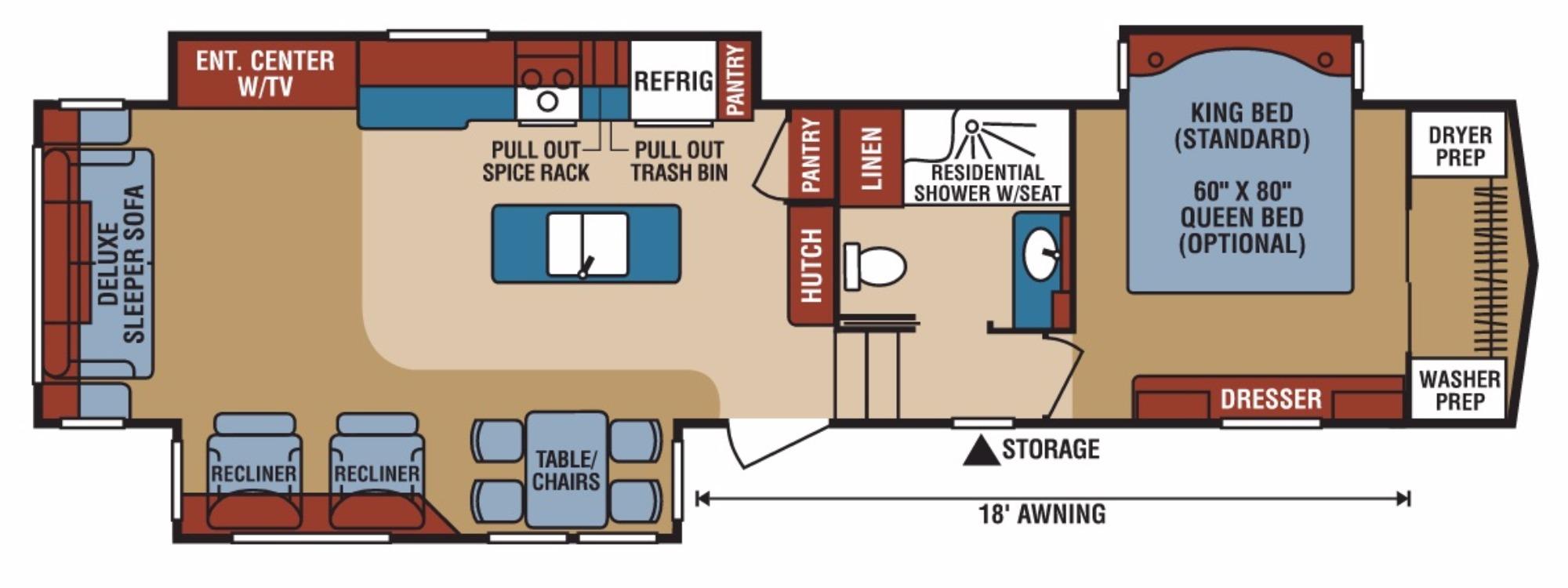 View Floor Plan for 2017 K-Z RV DURANGO GOLD 370RLT