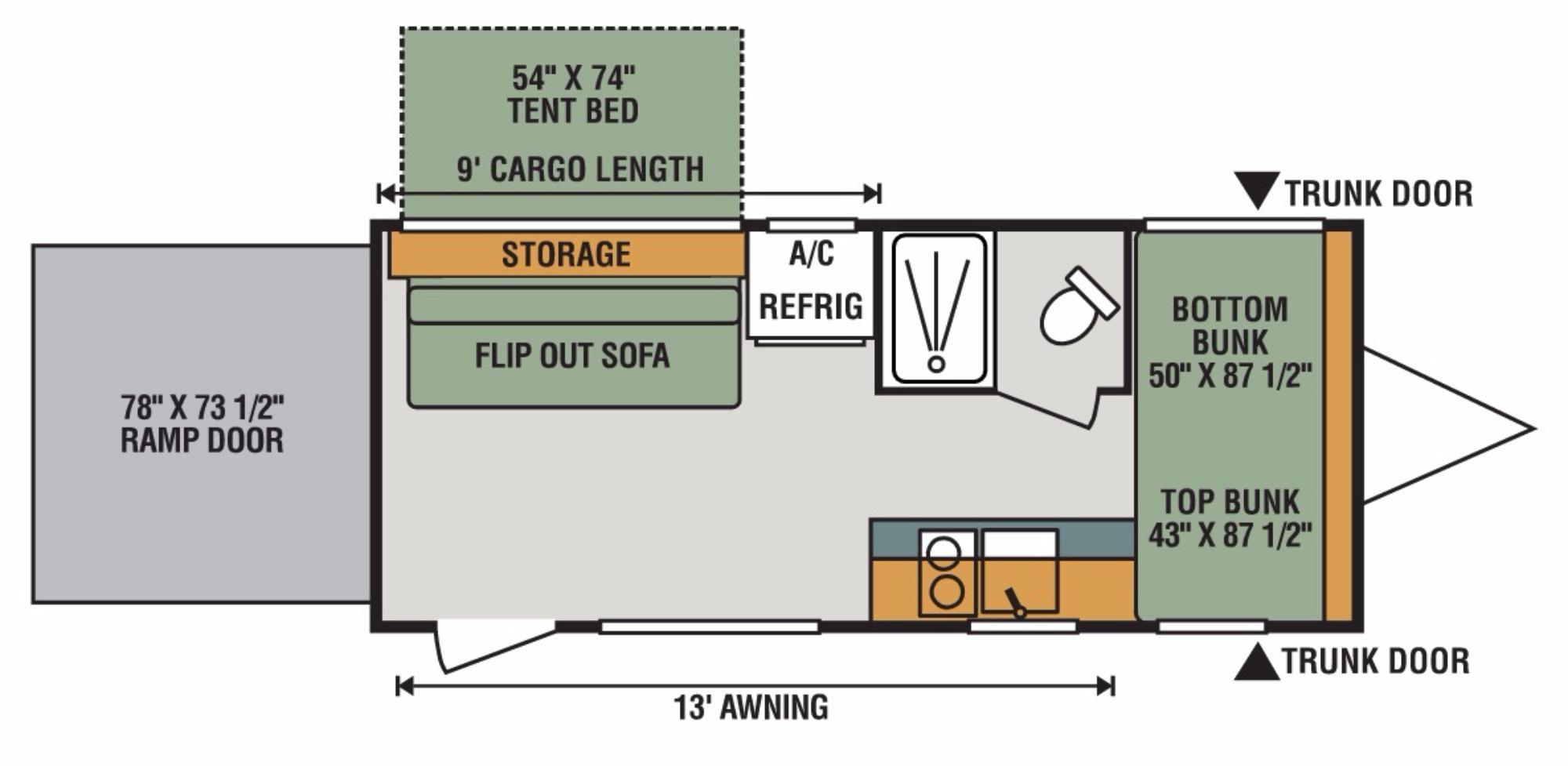 View Floor Plan for 2017 K-Z RV SPORTSMEN CLASSIC 180THT