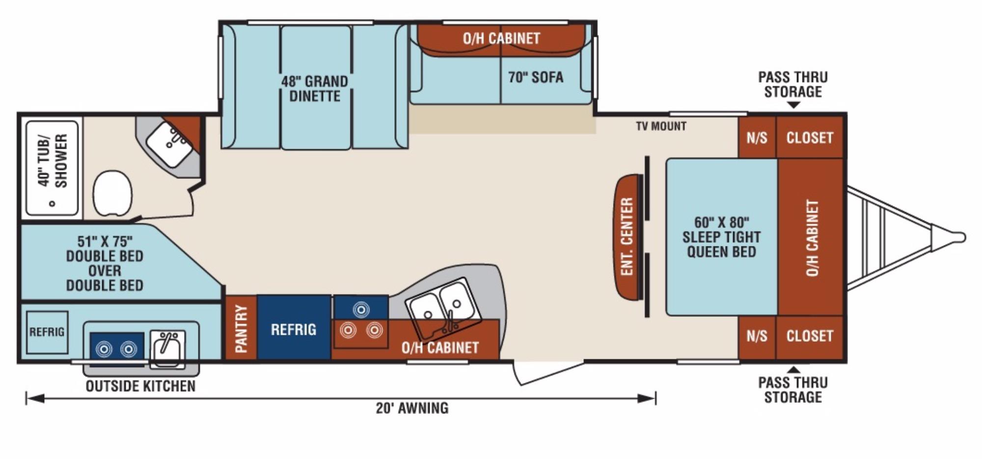View Floor Plan for 2017 VENTURE RV SPORTTREK 270VBH
