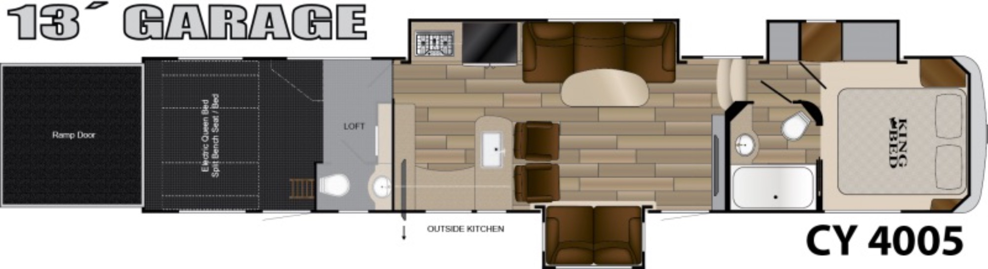 View Floor Plan for 2018 HEARTLAND CYCLONE 4005