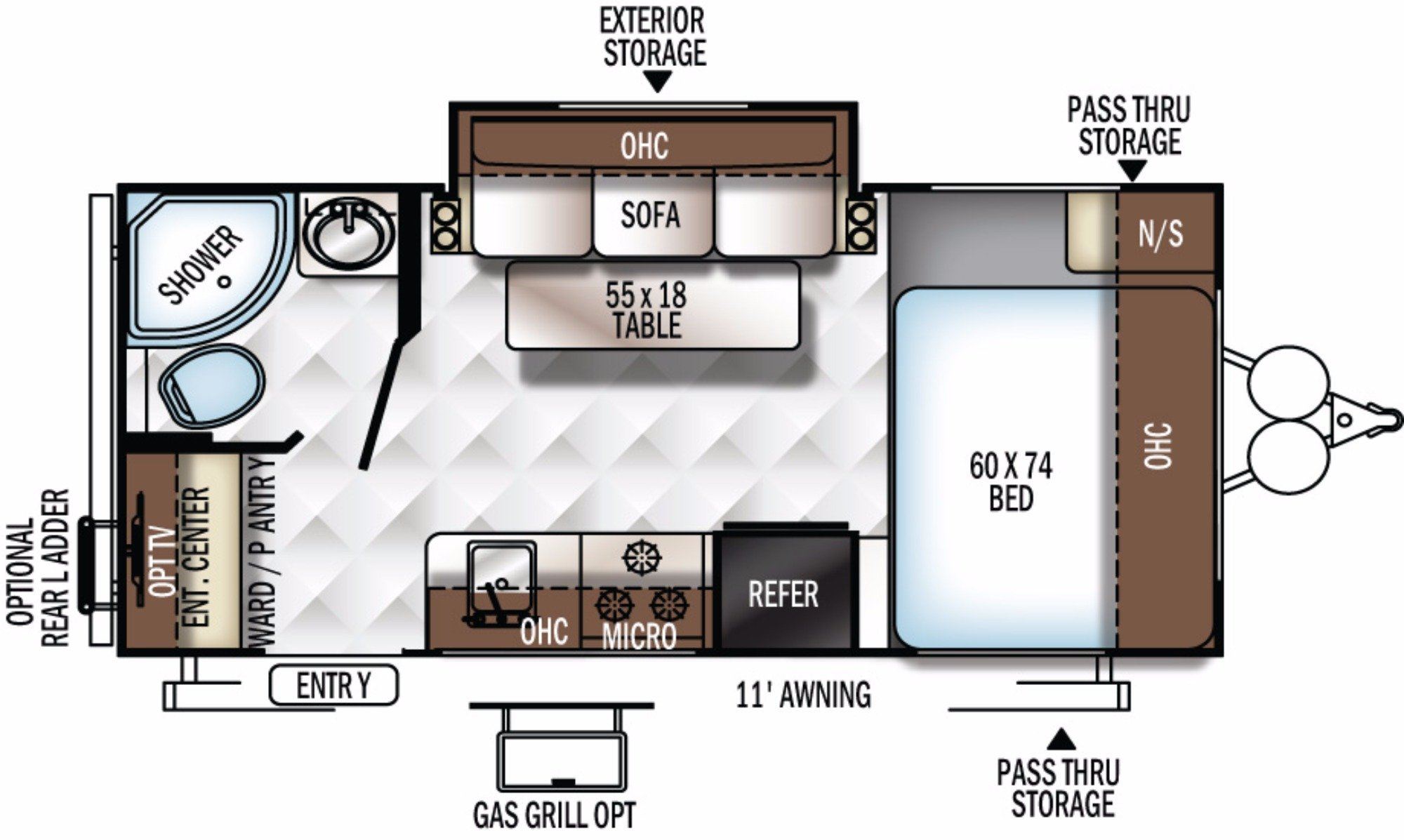 View Floor Plan for 2018 FOREST RIVER ROCKWOOD MINI LITE 1909S