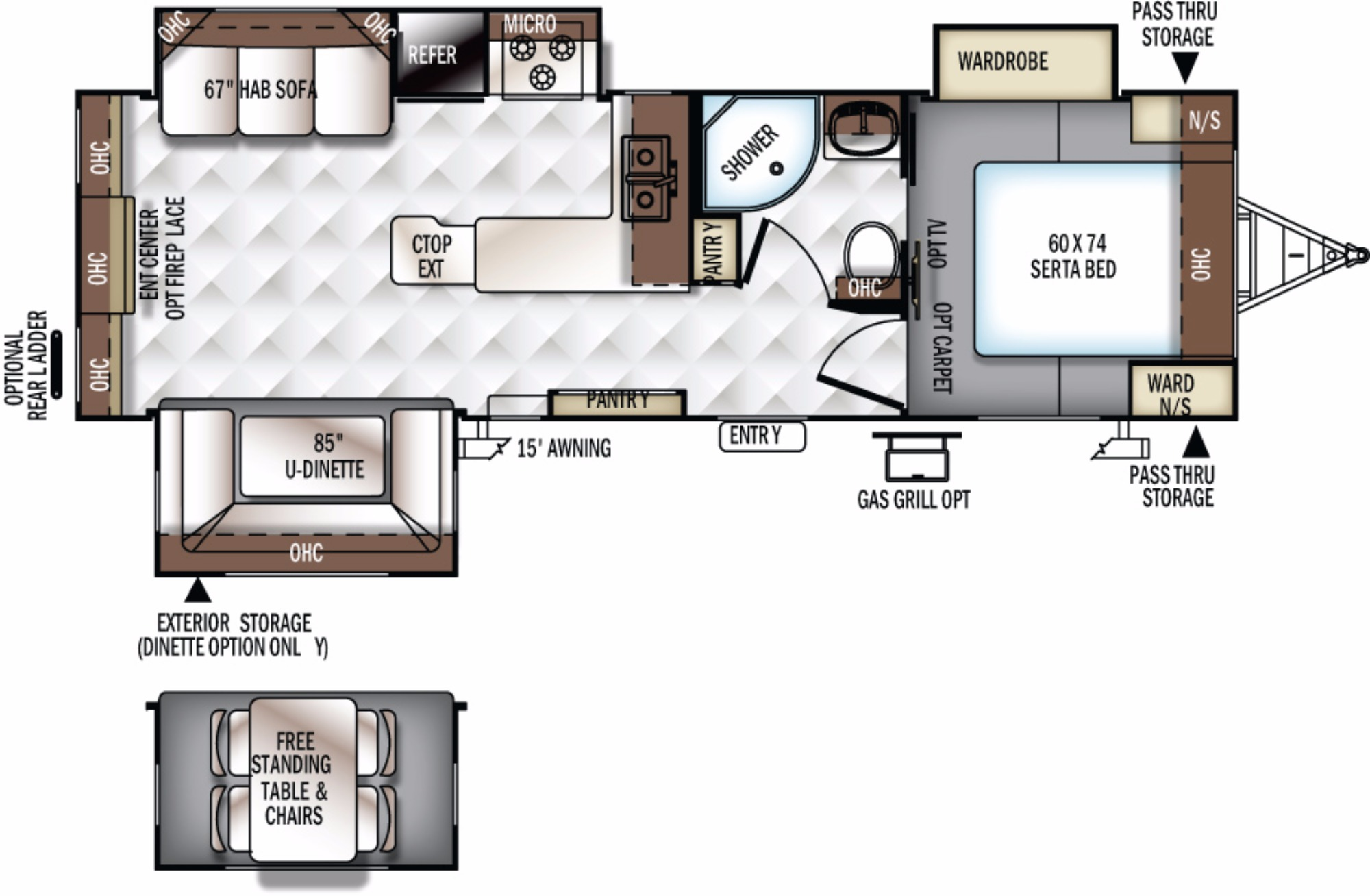 View Floor Plan for 2018 FOREST RIVER ROCKWOOD ULTRA LITE 2703WS