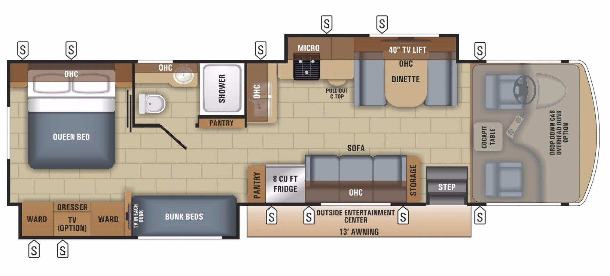 View Floor Plan for 2018 JAYCO ALANTE 31R