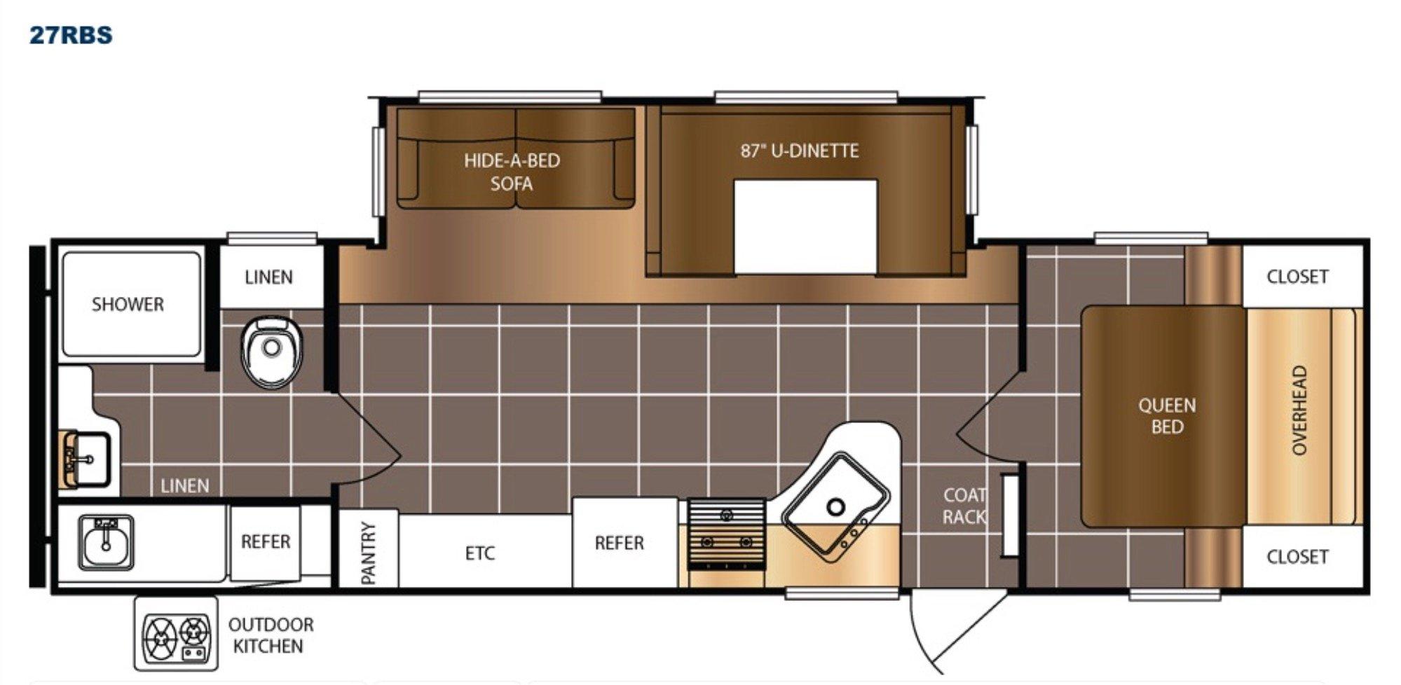 View Floor Plan for 2018 PRIME TIME AVENGER ATI 27RBS