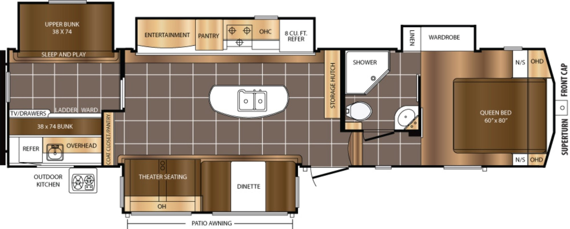 View Floor Plan for 2018 PRIME TIME CRUSADER 337QBH