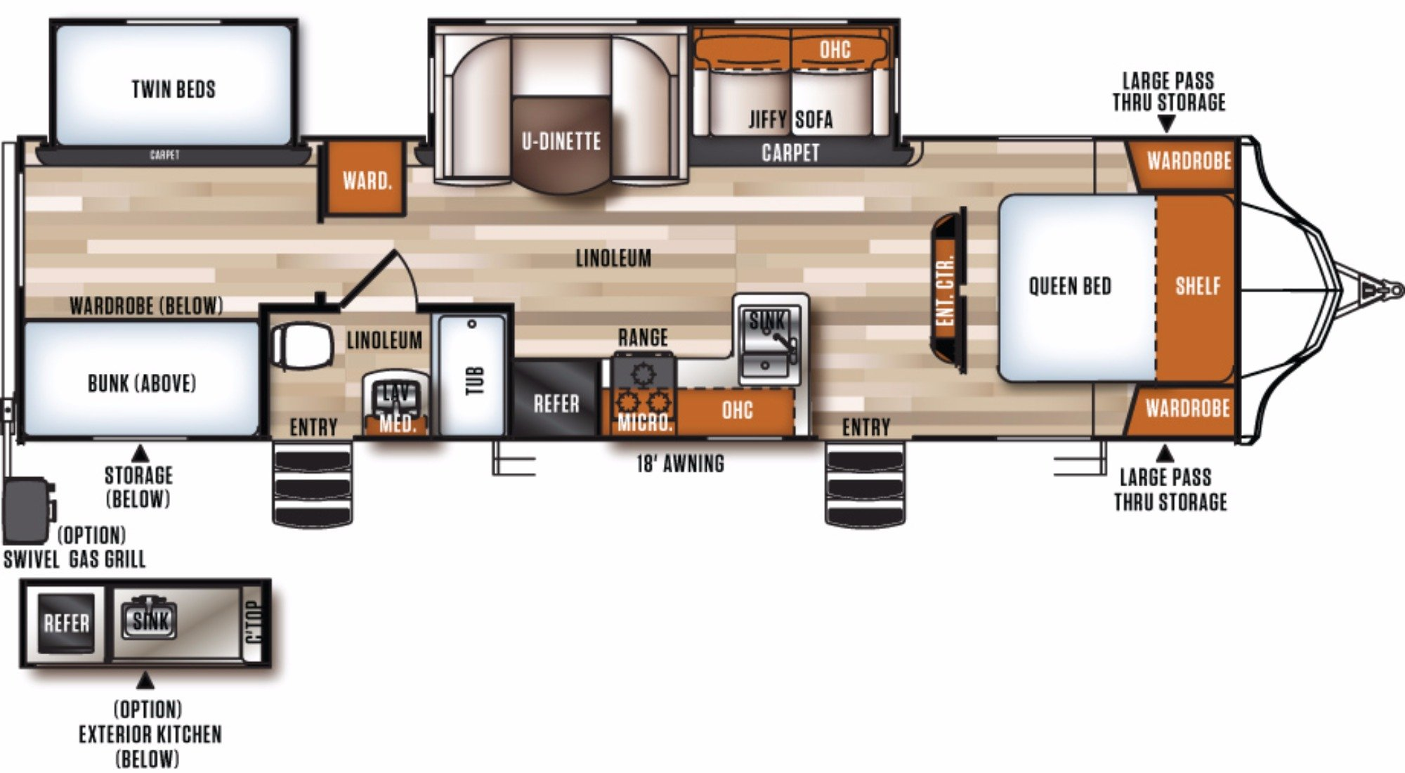 View Floor Plan for 2018 FOREST RIVER VIBE 308BHS