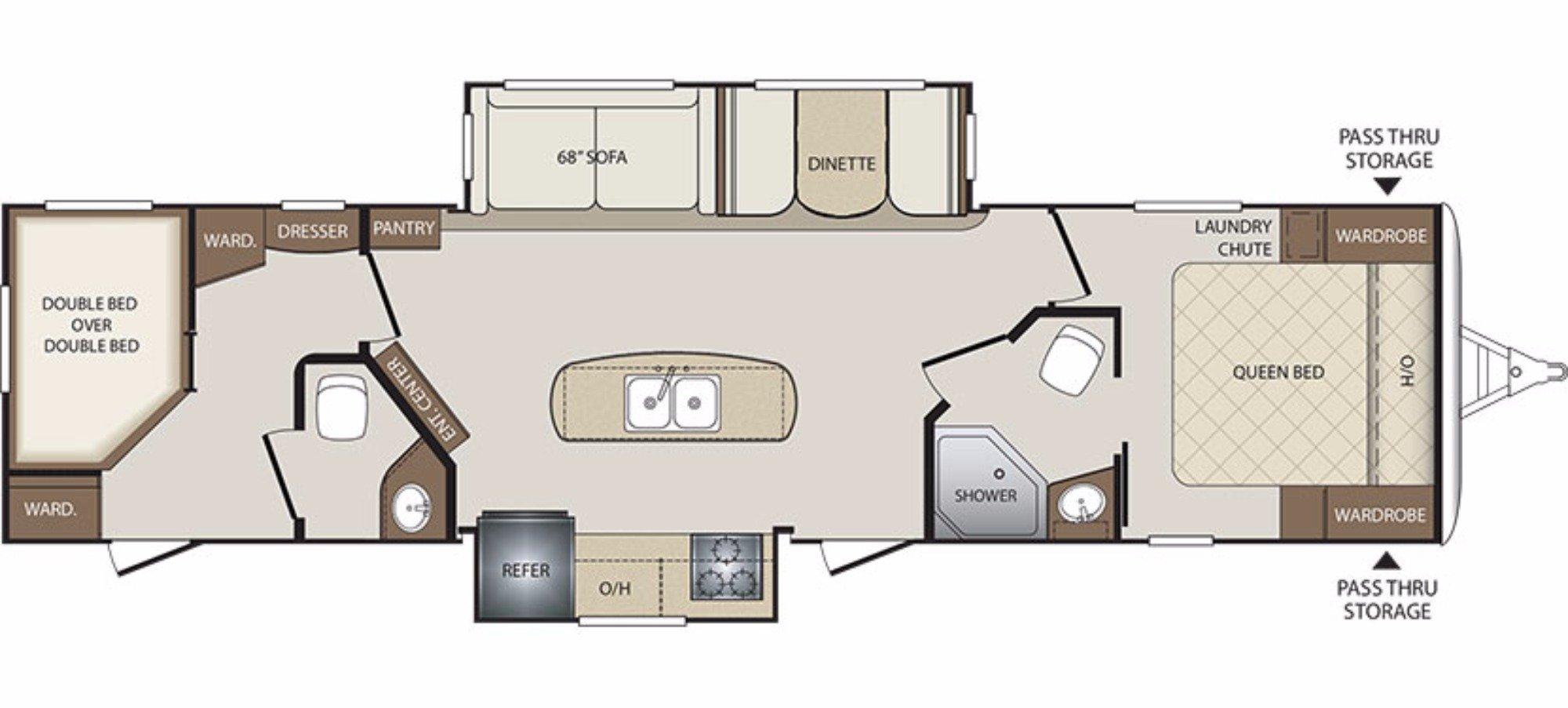 View Floor Plan for 2018 KEYSTONE BULLET 330BHS