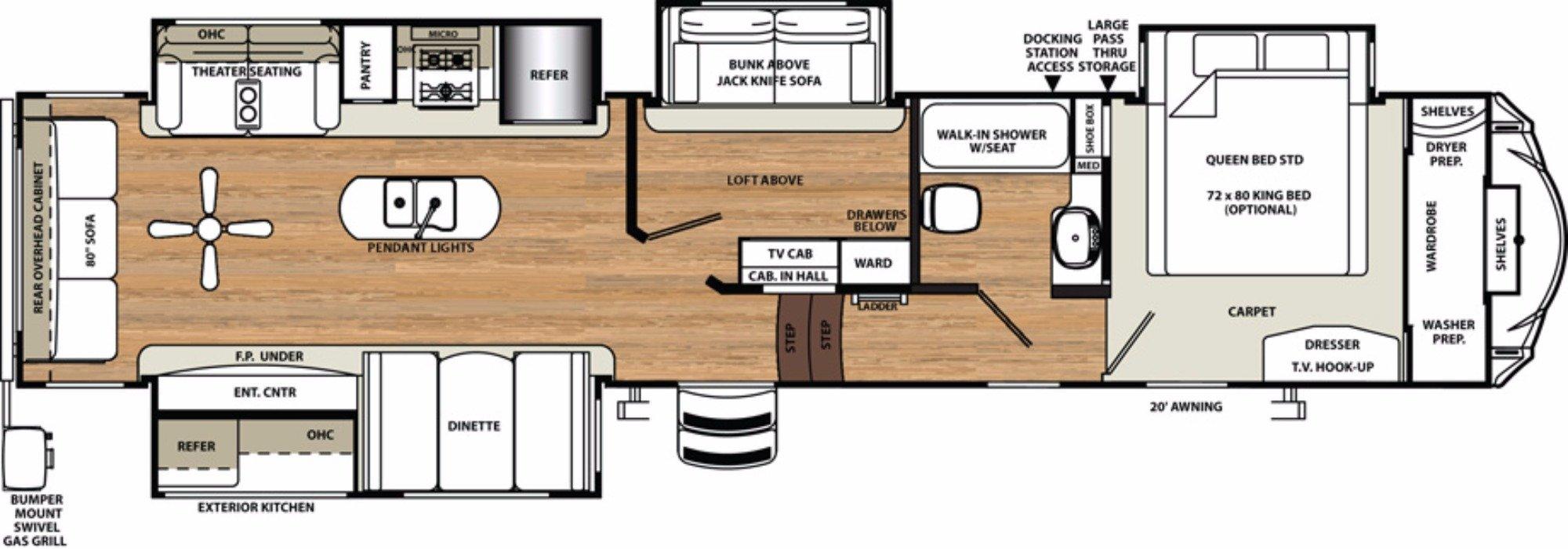 View Floor Plan for 2018 FOREST RIVER SANDPIPER 372LOK