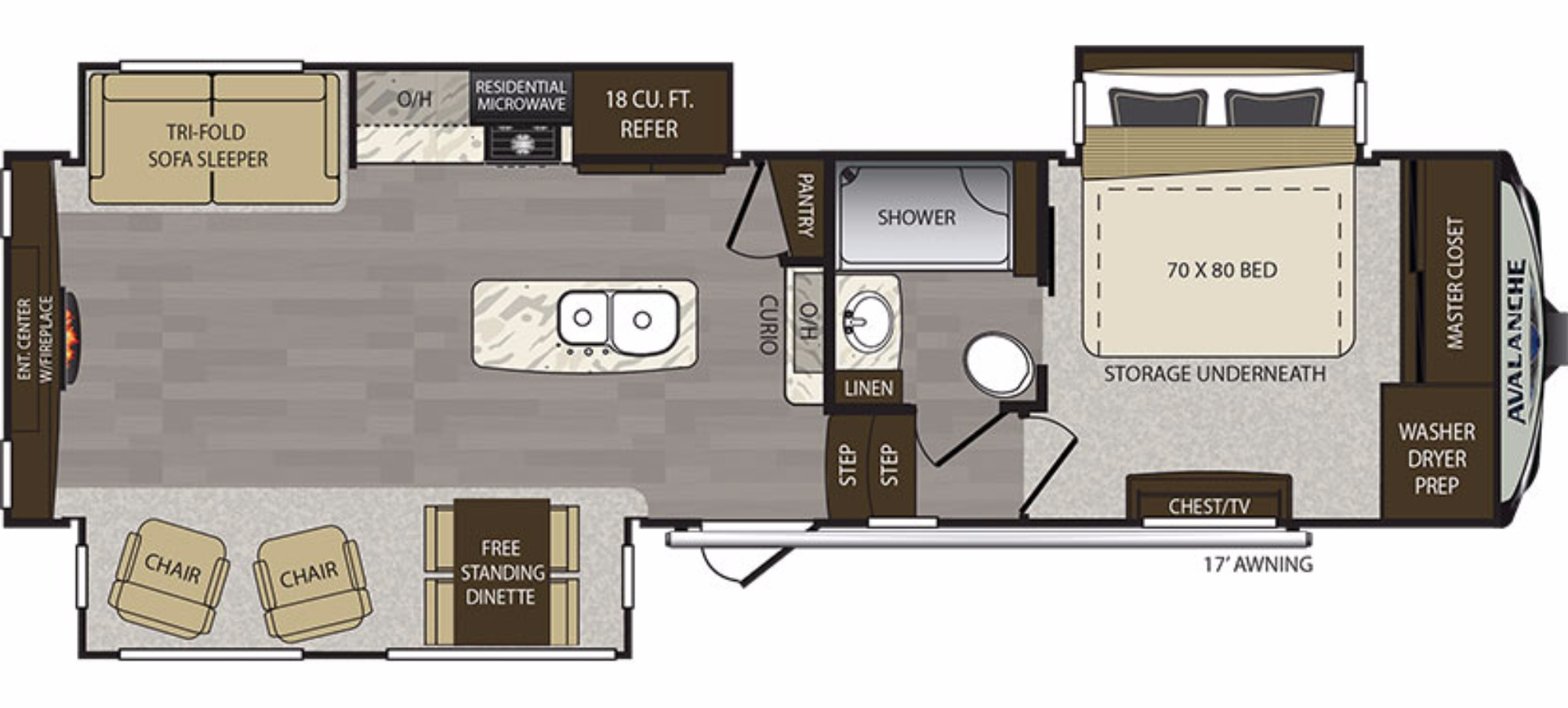 View Floor Plan for 2018 KEYSTONE AVALANCHE 300RE