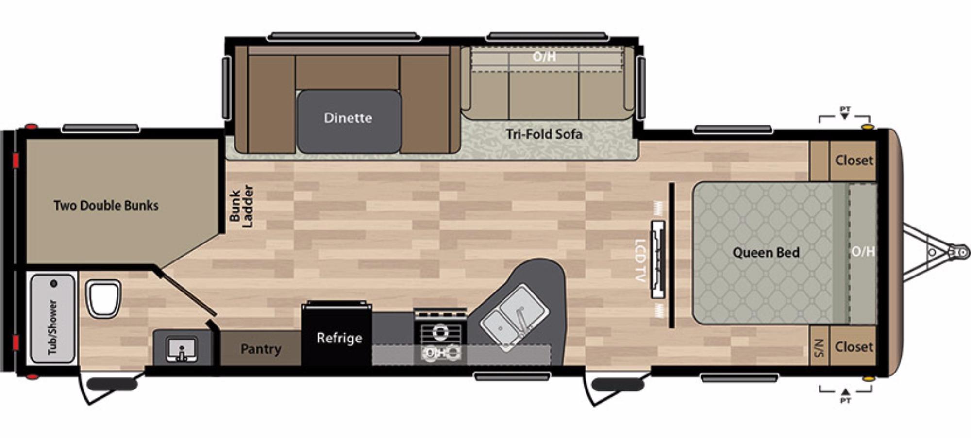 View Floor Plan for 2018 KEYSTONE SPRINGDALE 282BHWE