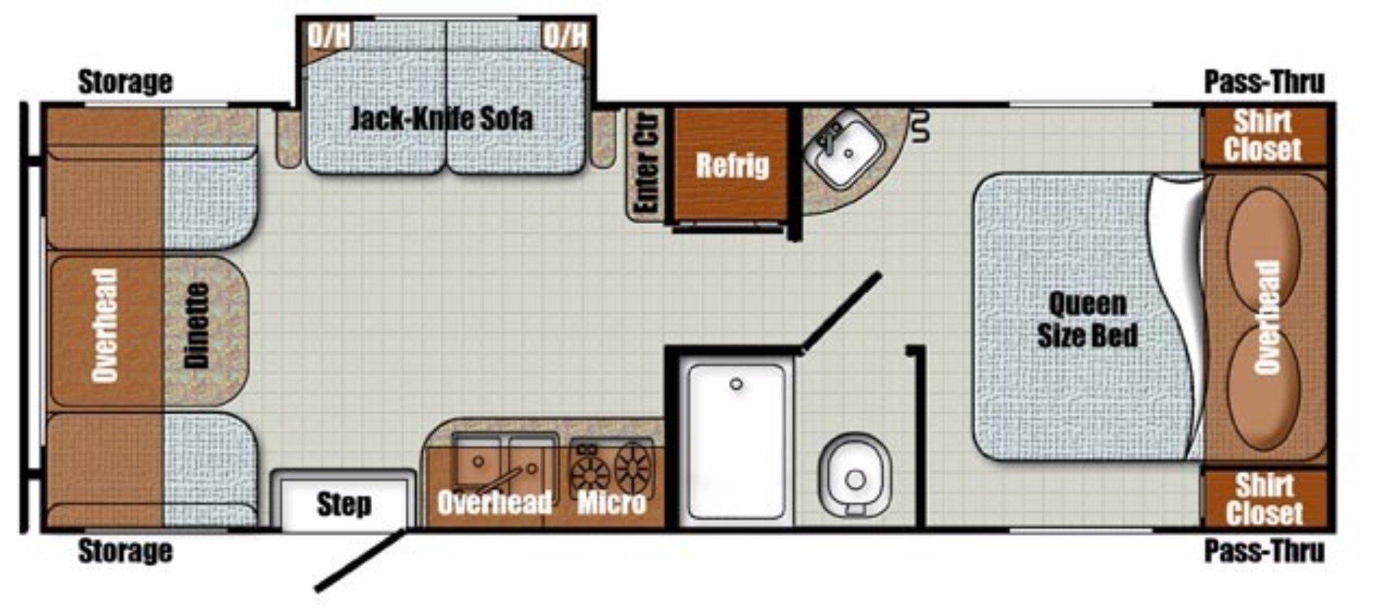 View Floor Plan for 2018 GULF STREAM VINTAGE CRUISER 23RSS