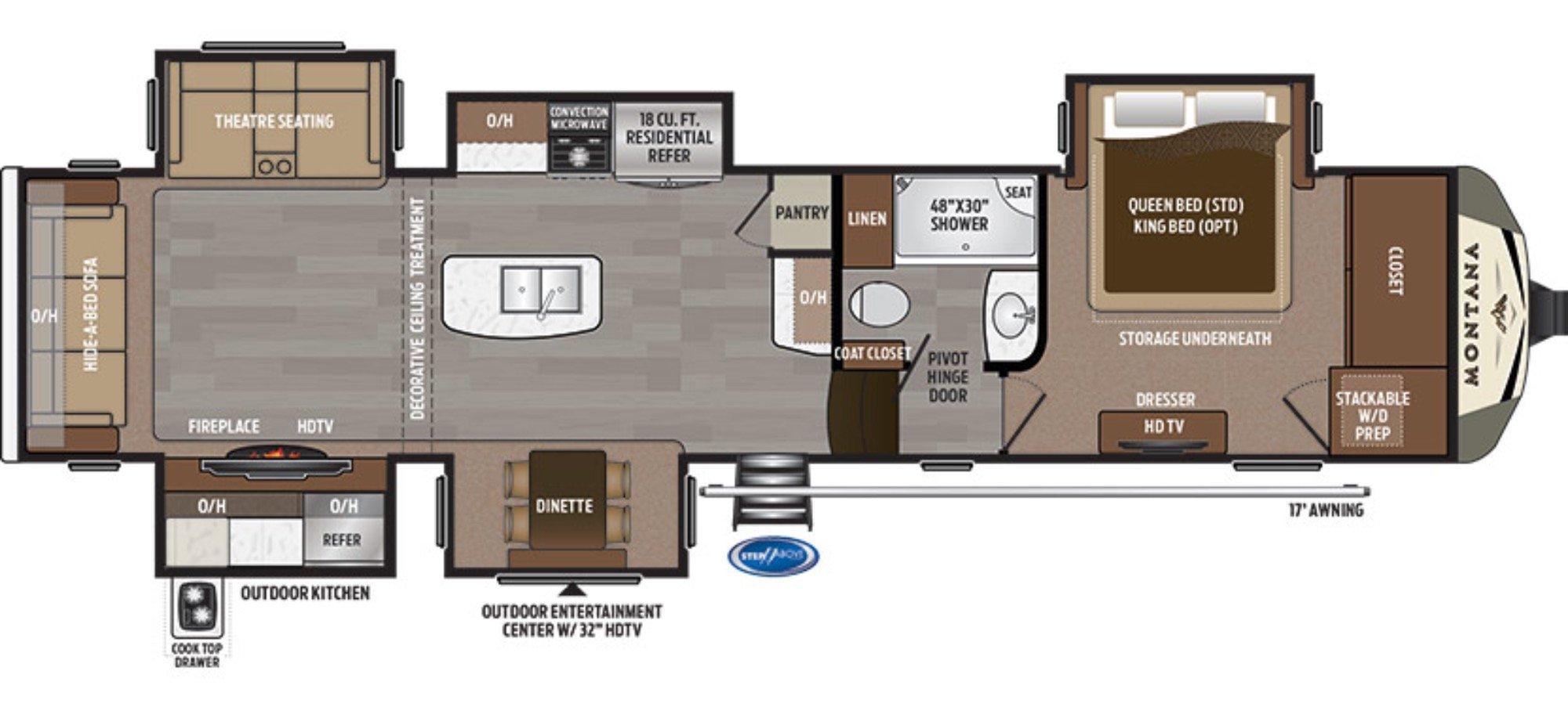 View Floor Plan for 2018 KEYSTONE MONTANA 3661RL