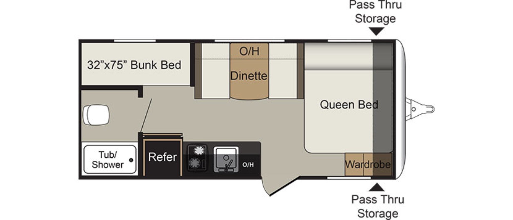 View Floor Plan for 2018 KEYSTONE PASSPORT 175BH