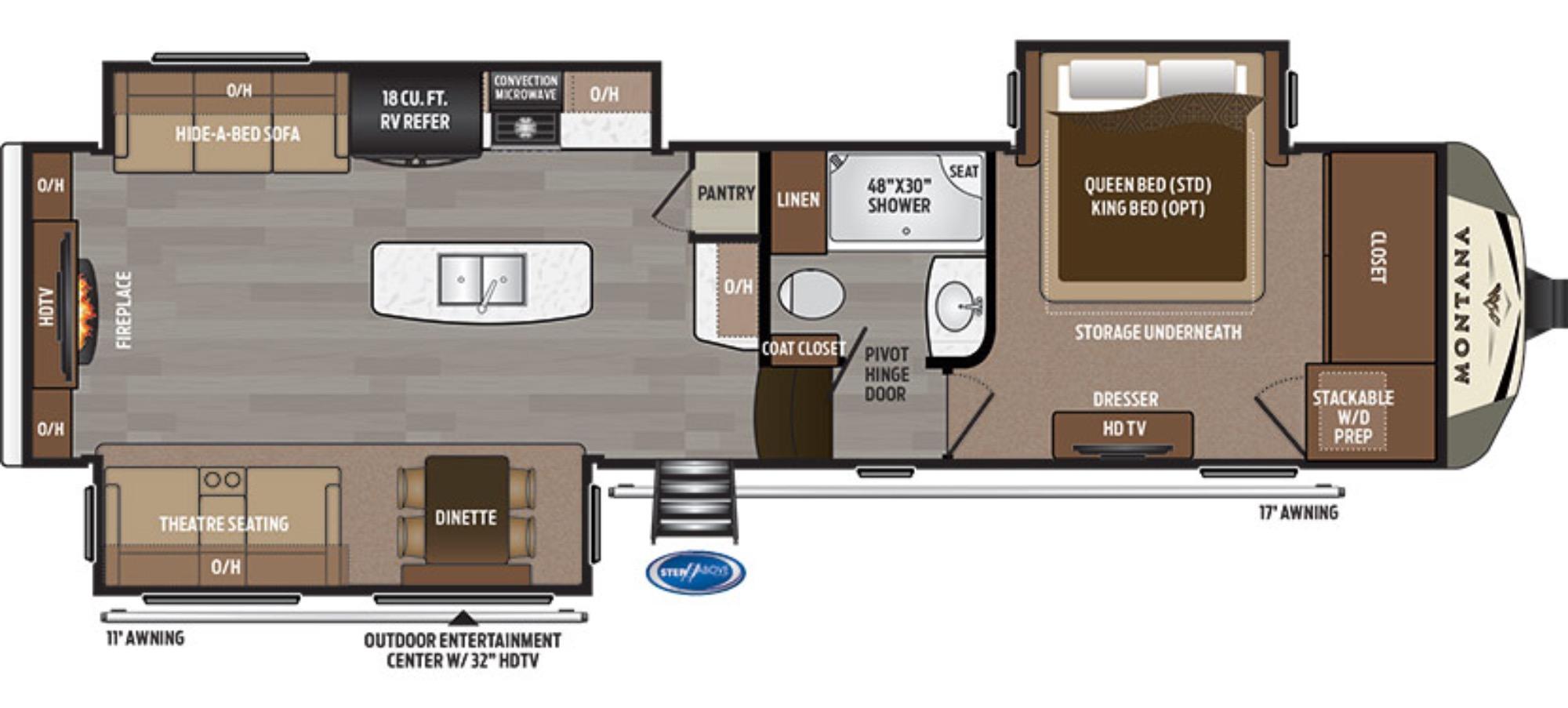 View Floor Plan for 2018 KEYSTONE MONTANA 3000RE