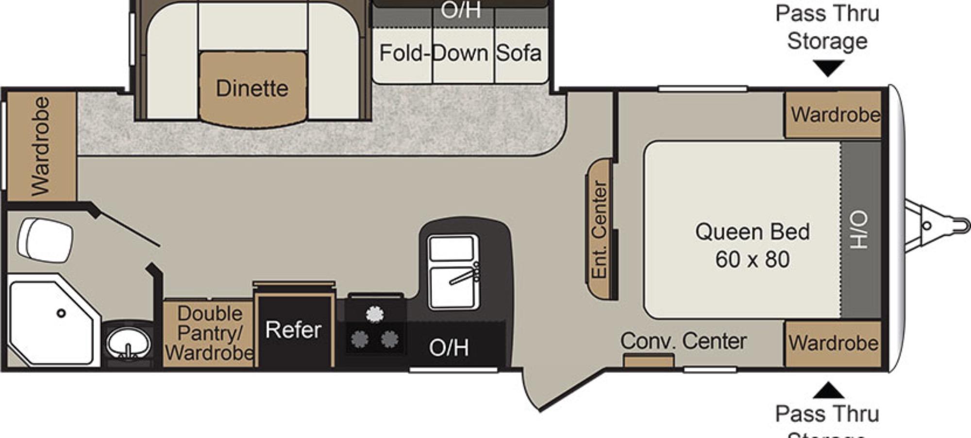 View Floor Plan for 2018 KEYSTONE PASSPORT 2510RB