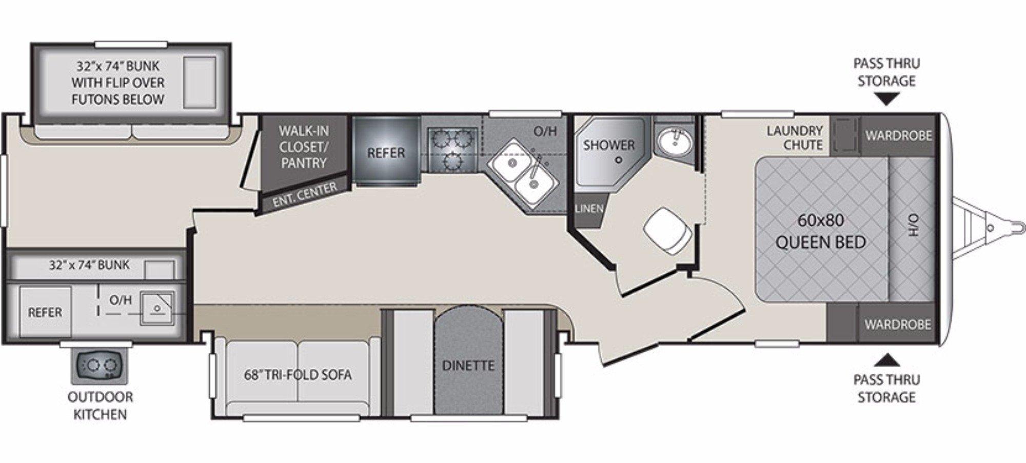 View Floor Plan for 2018 KEYSTONE PREMIER 31BK
