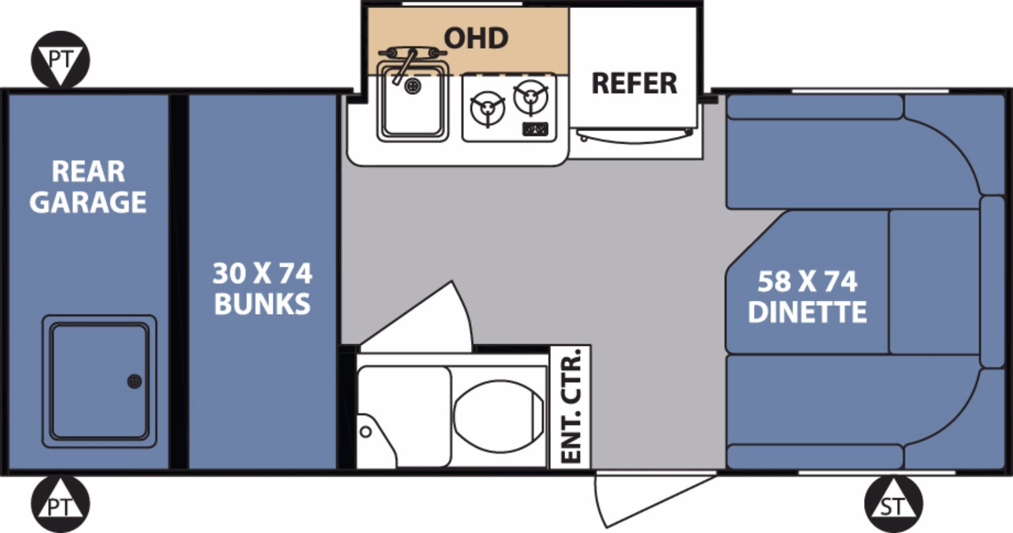 View Floor Plan for 2018 FOREST RIVER R-POD 182G