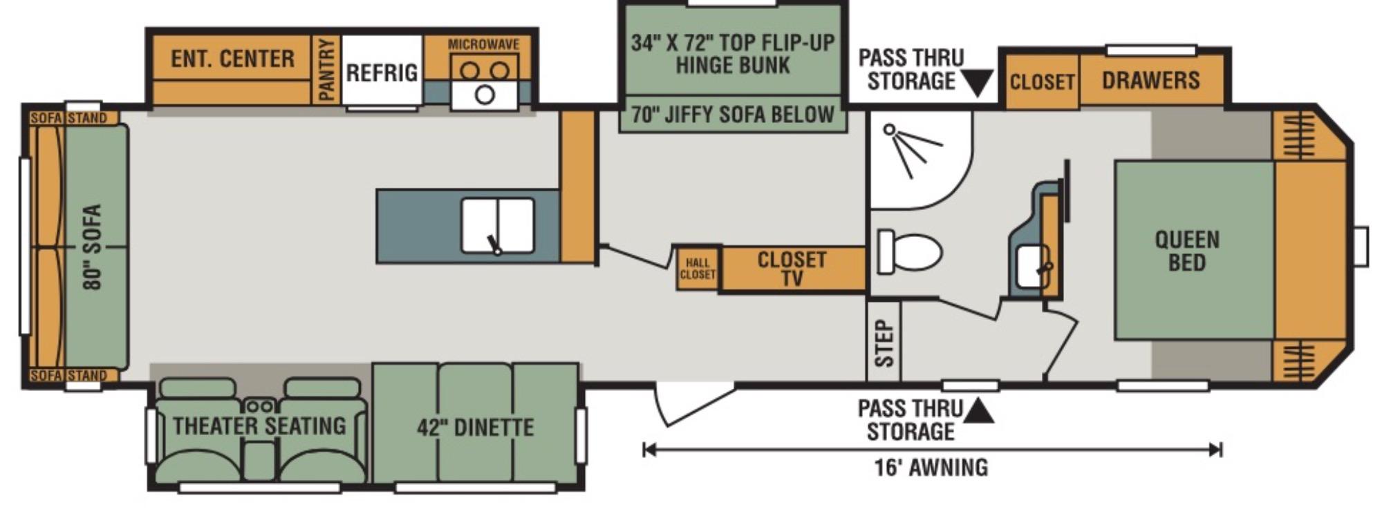 View Floor Plan for 2018 K-Z RV SPORTSMEN 344BH