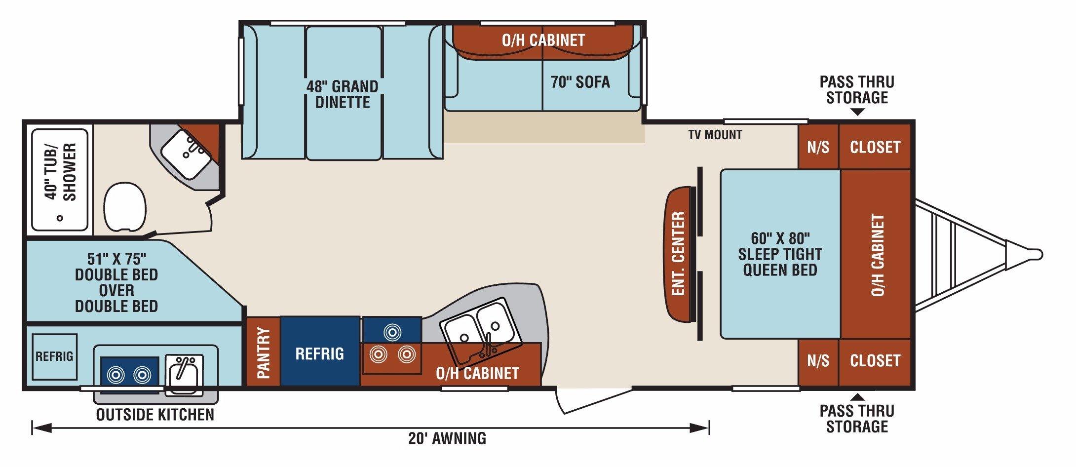 View Floor Plan for 2018 VENTURE RV SPORTTREK 270VBH