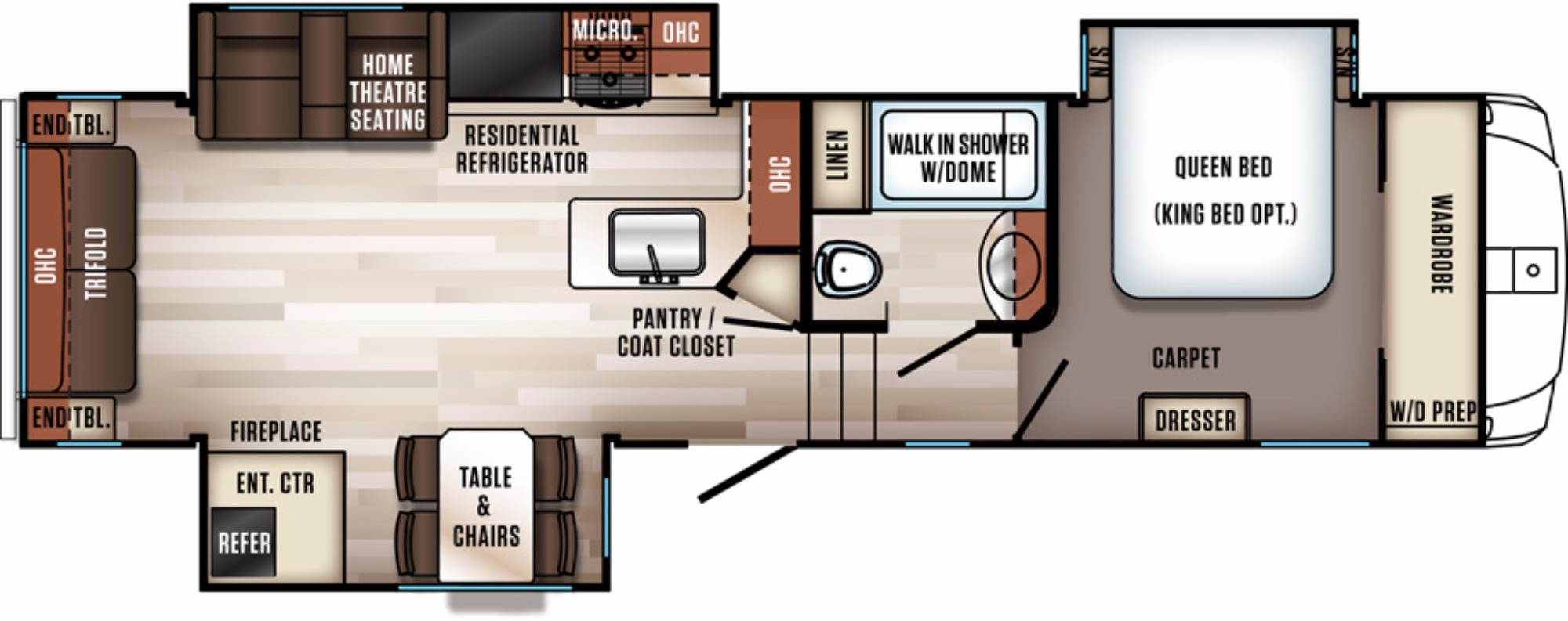 View Floor Plan for 2018 FOREST RIVER SABRE 30RLT