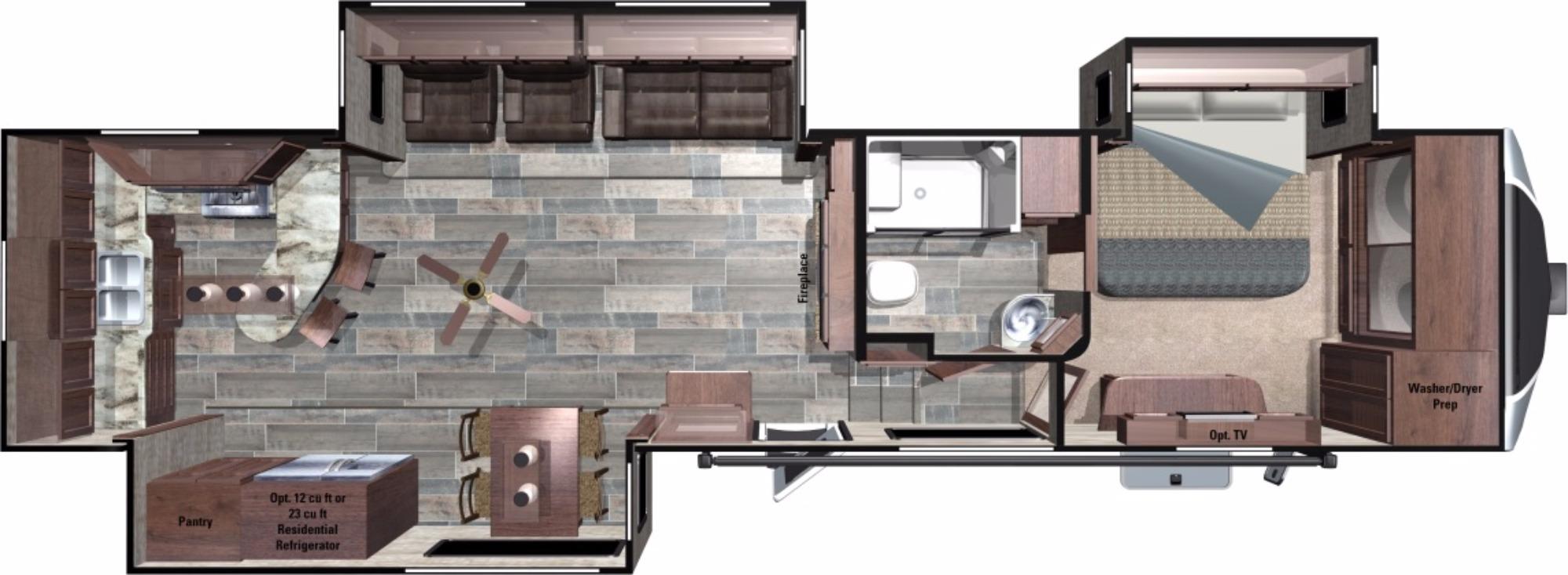 View Floor Plan for 2018 HIGHLAND RIDGE OPEN RANGE 3X 388RKS
