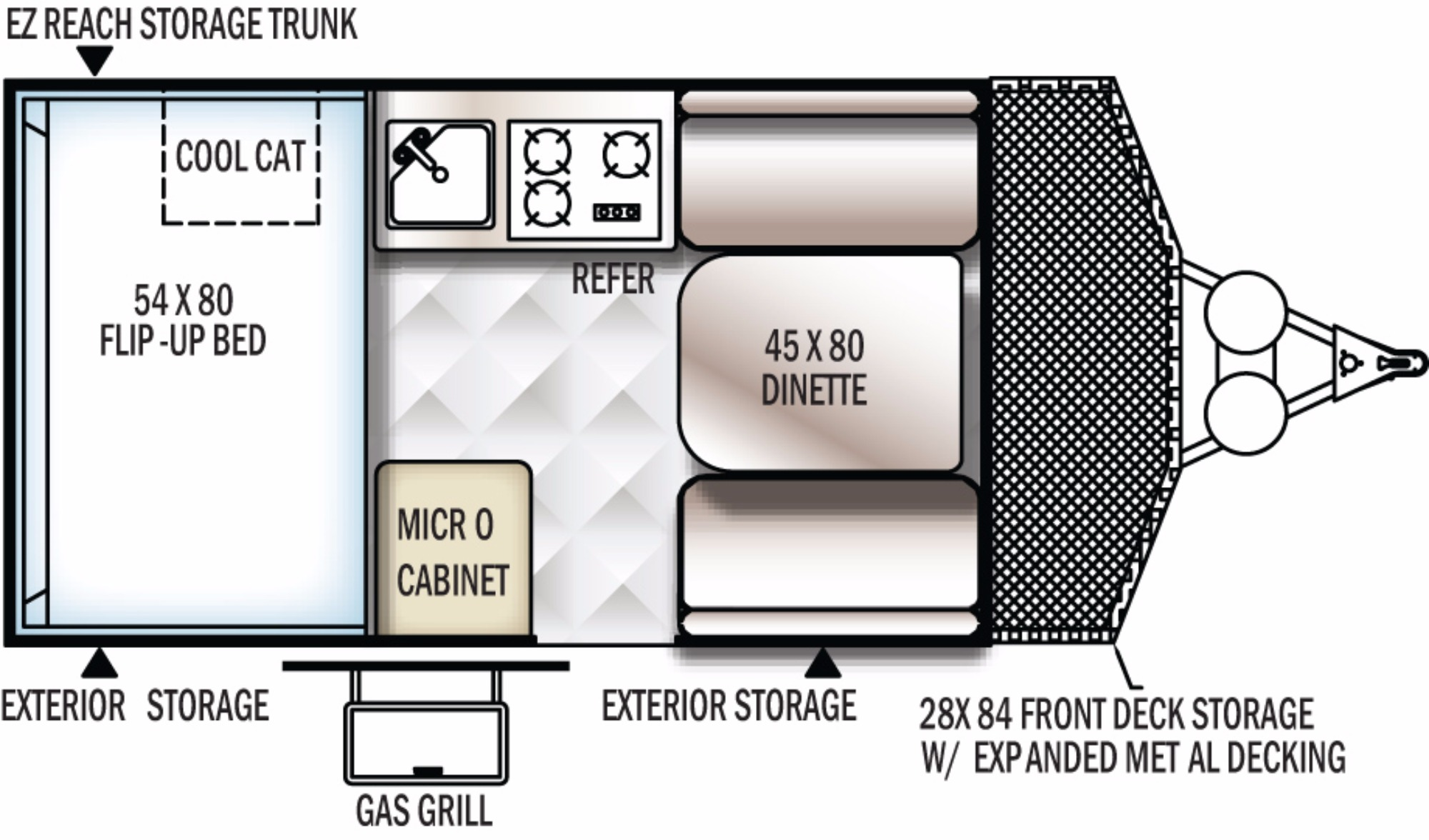 View Floor Plan for 2018 FOREST RIVER ROCKWOOD HARD SIDE A122BH