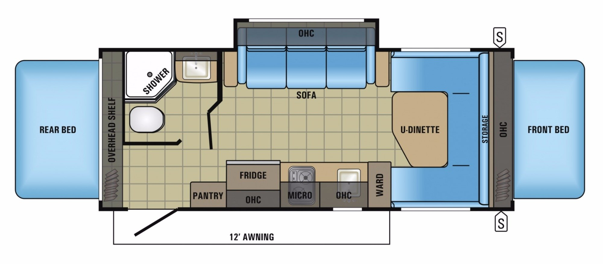 View Floor Plan for 2018 JAYCO JAY FEATHER 19XUD
