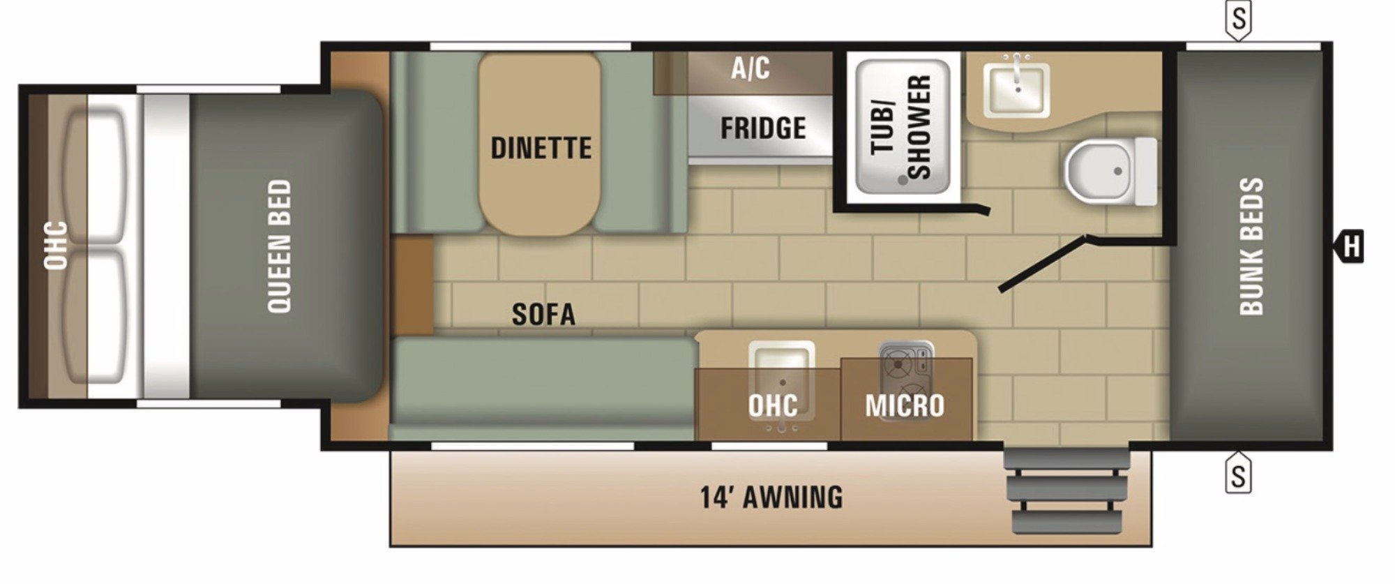 Floor Plan : 2018-STARCRAFT-19BHS