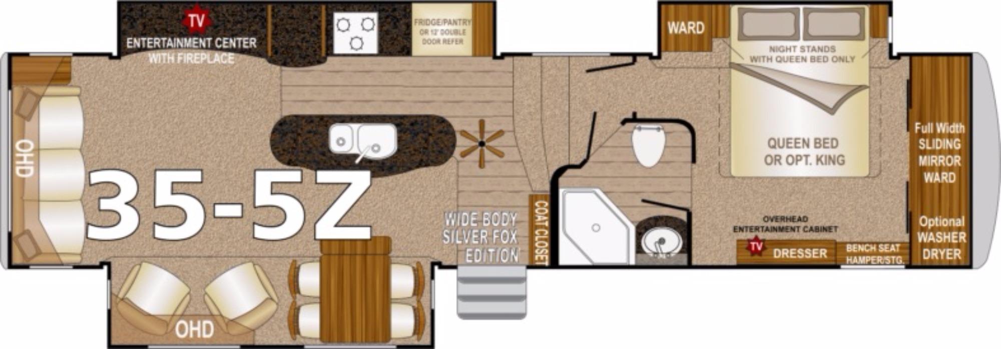 View Floor Plan for 2017 NORTHWOOD ARCTIC FOX 35-5Z