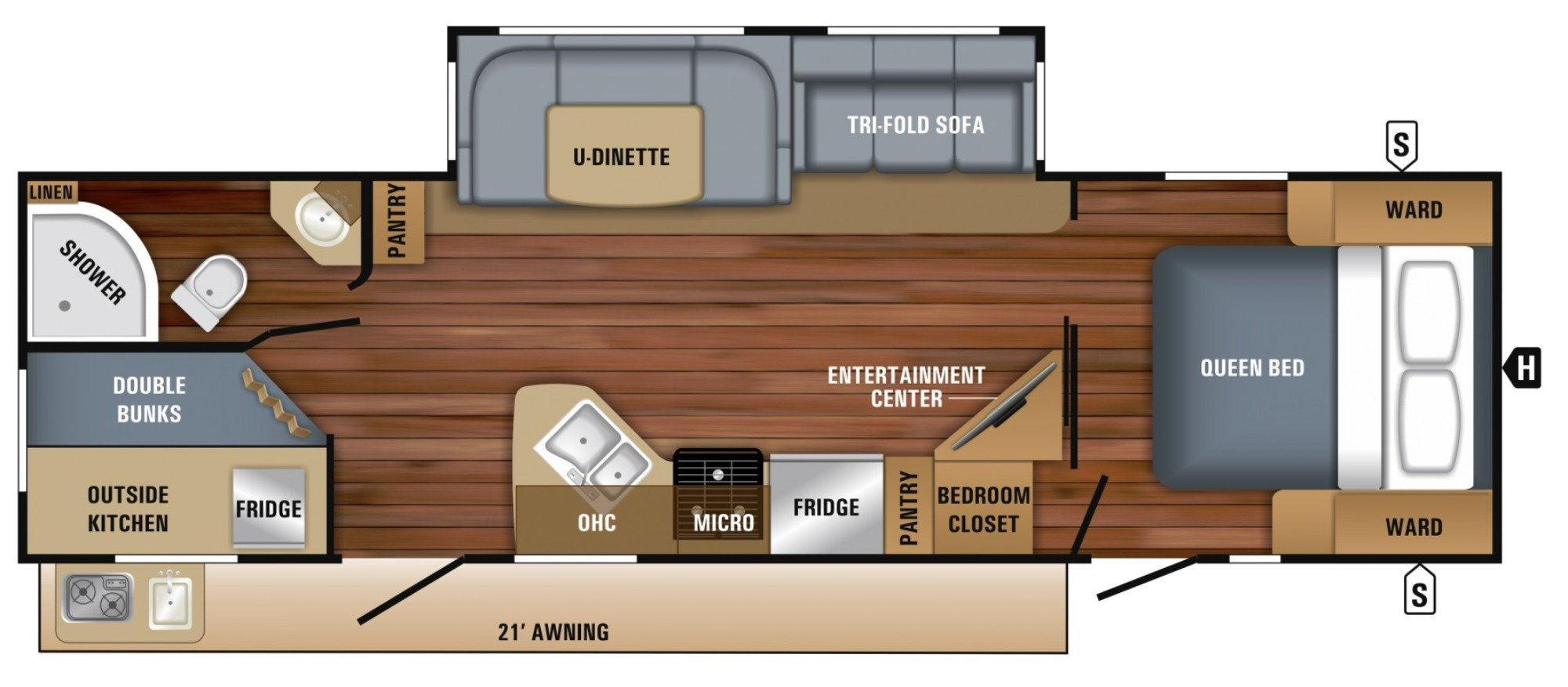 View Floor Plan for 2018 JAYCO WHITE HAWK 29BH