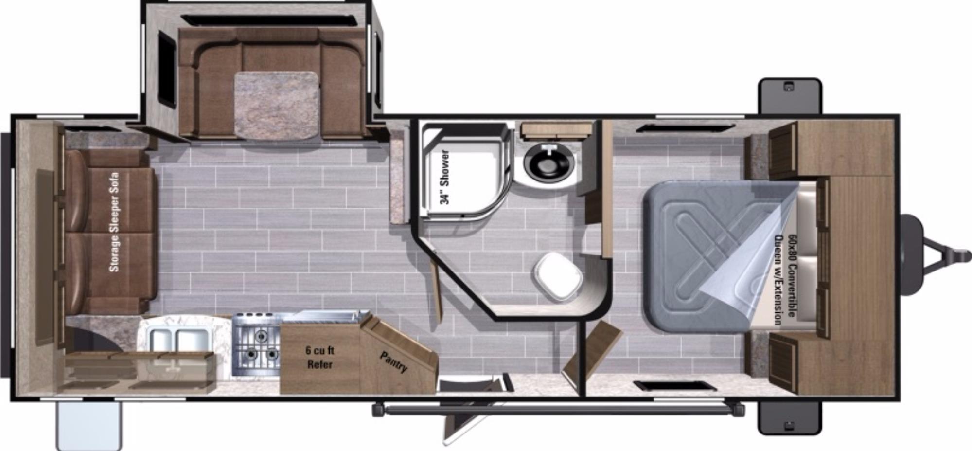 View Floor Plan for 2018 HIGHLAND RIDGE OPEN RANGE ULTRA LITE 2410RL