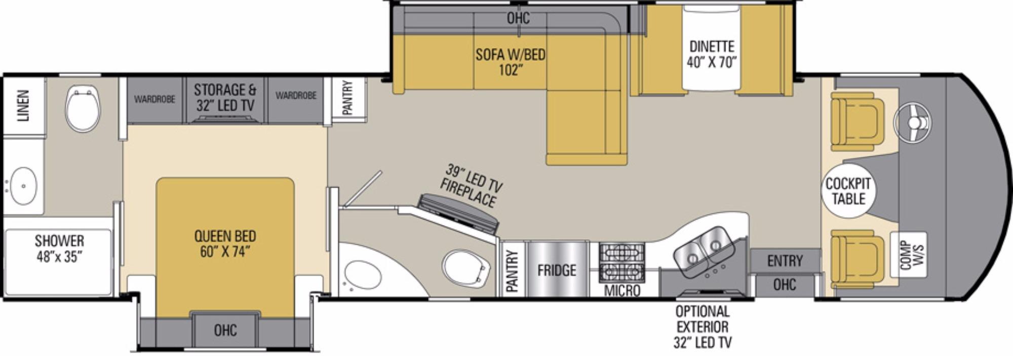 View Floor Plan for 2017 COACHMEN MIRADA 35LS