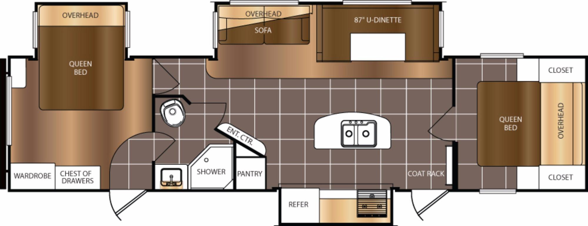 View Floor Plan for 2018 PRIME TIME AVENGER 34DQB