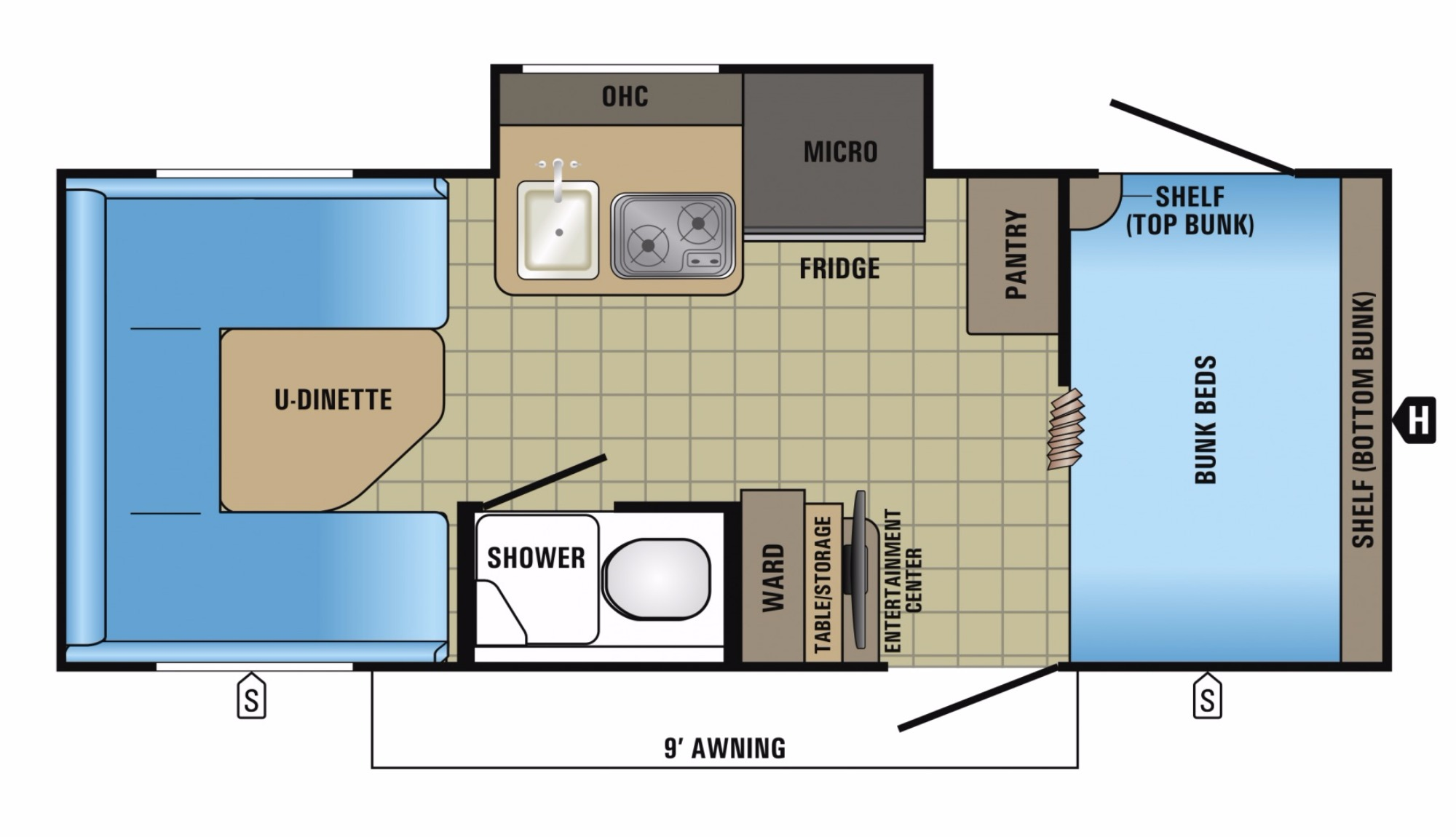View Floor Plan for 2018 JAYCO HUMMINGBIRD 17BH