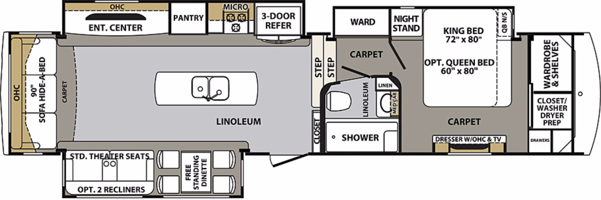 View Floor Plan for 2018 FOREST RIVER CARDINAL 3850RL