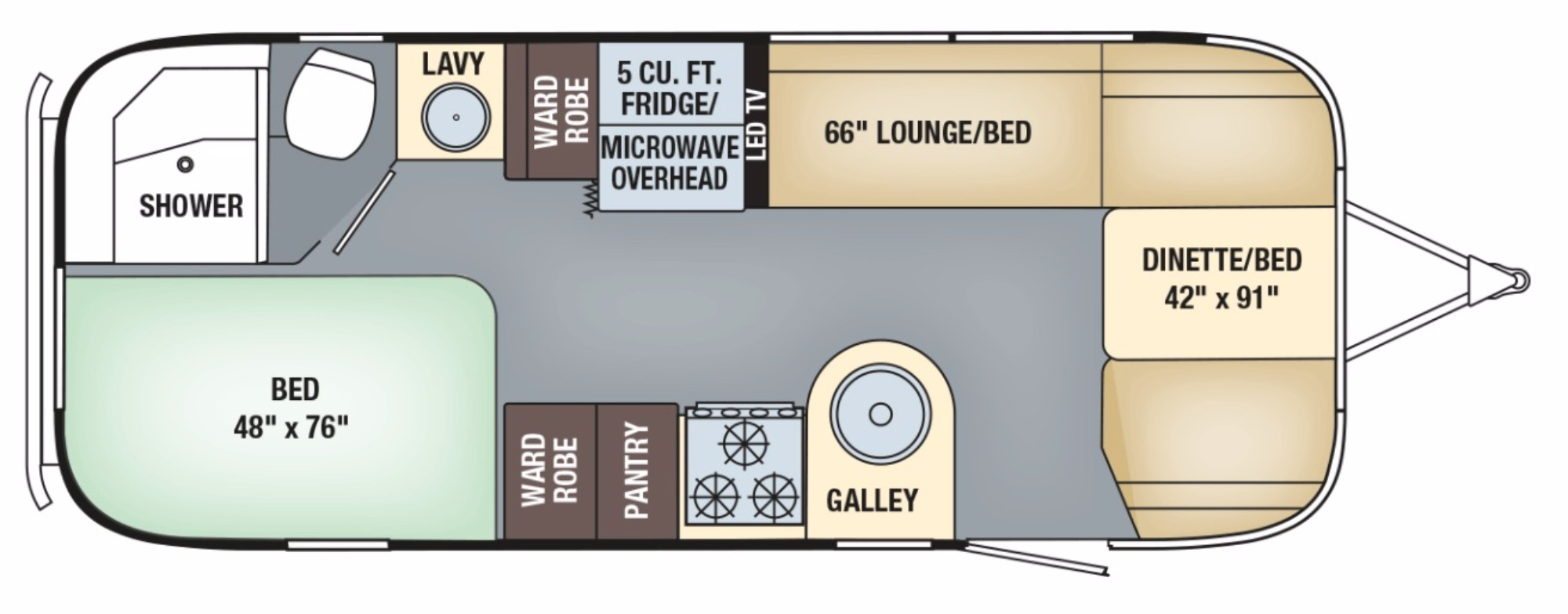 View Floor Plan for 2018 AIRSTREAM FLYING CLOUD 23CB
