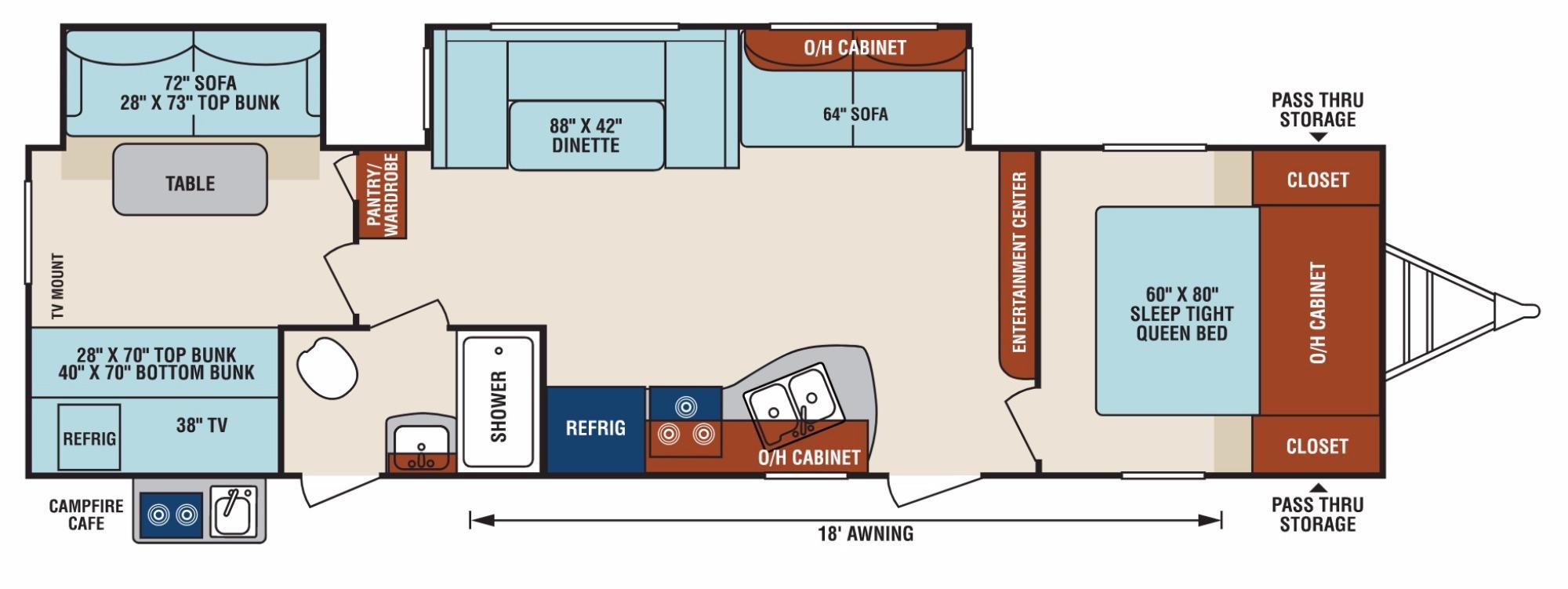 View Floor Plan for 2018 VENTURE RV SPORTTREK 322VBH