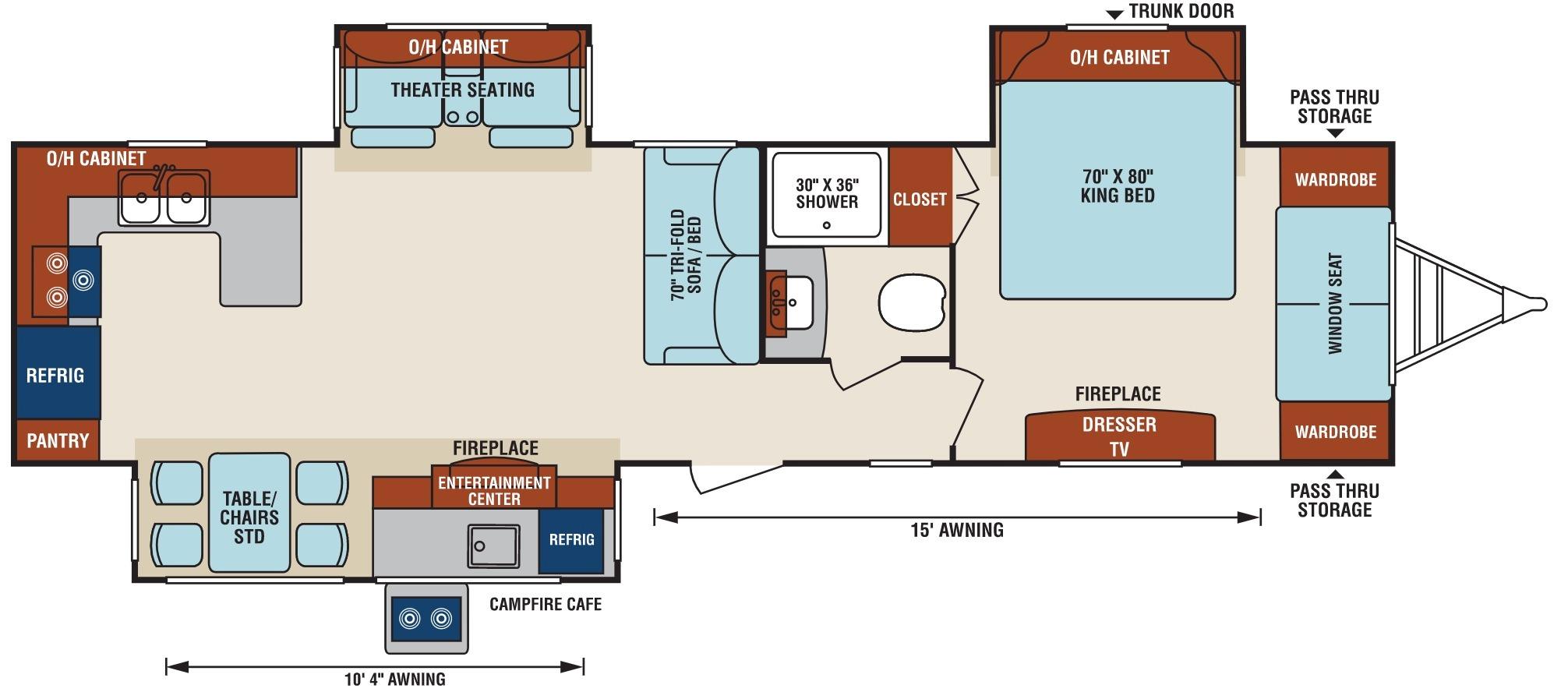 View Floor Plan for 2018 VENTURE RV SPORTTREK TOURING EDITION 336VRK