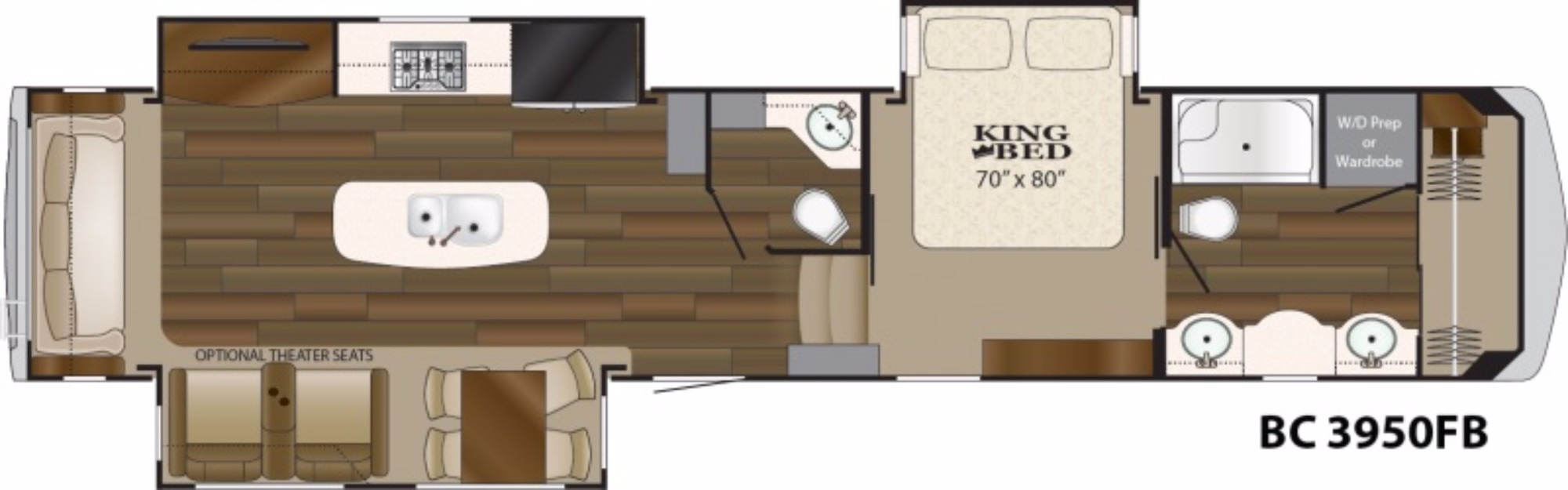 View Floor Plan for 2018 HEARTLAND BIG COUNTRY 3950FB