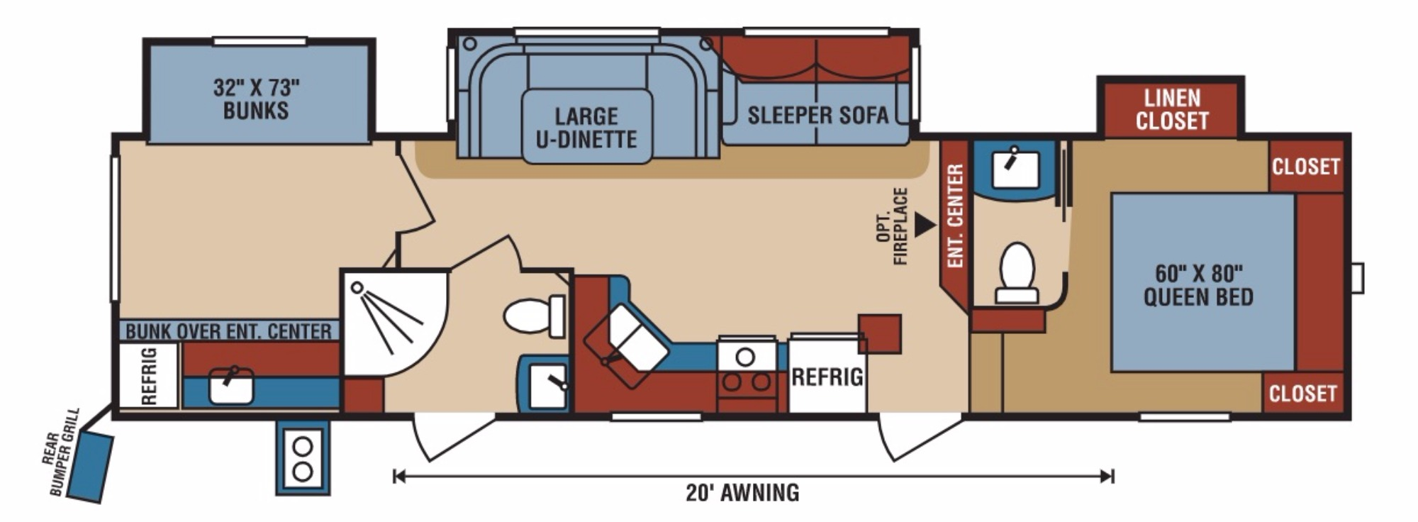 View Floor Plan for 2018 K-Z RV DURANGO 1500 292BHT