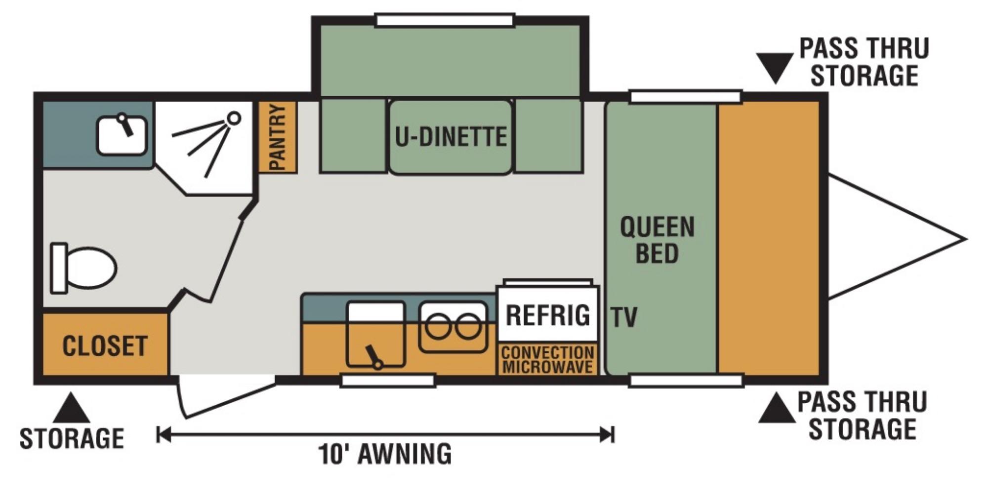 View Floor Plan for 2018 K-Z RV ESCAPE MINI 181UD
