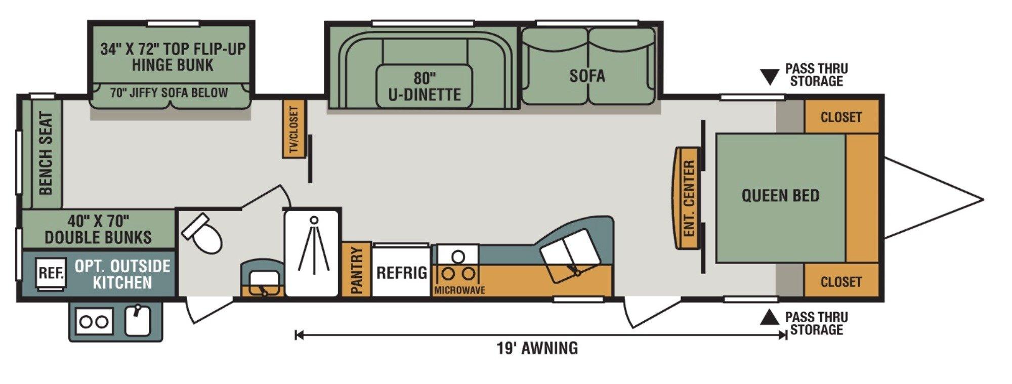 View Floor Plan for 2018 K-Z RV SPORTSMEN LE 332BHLE