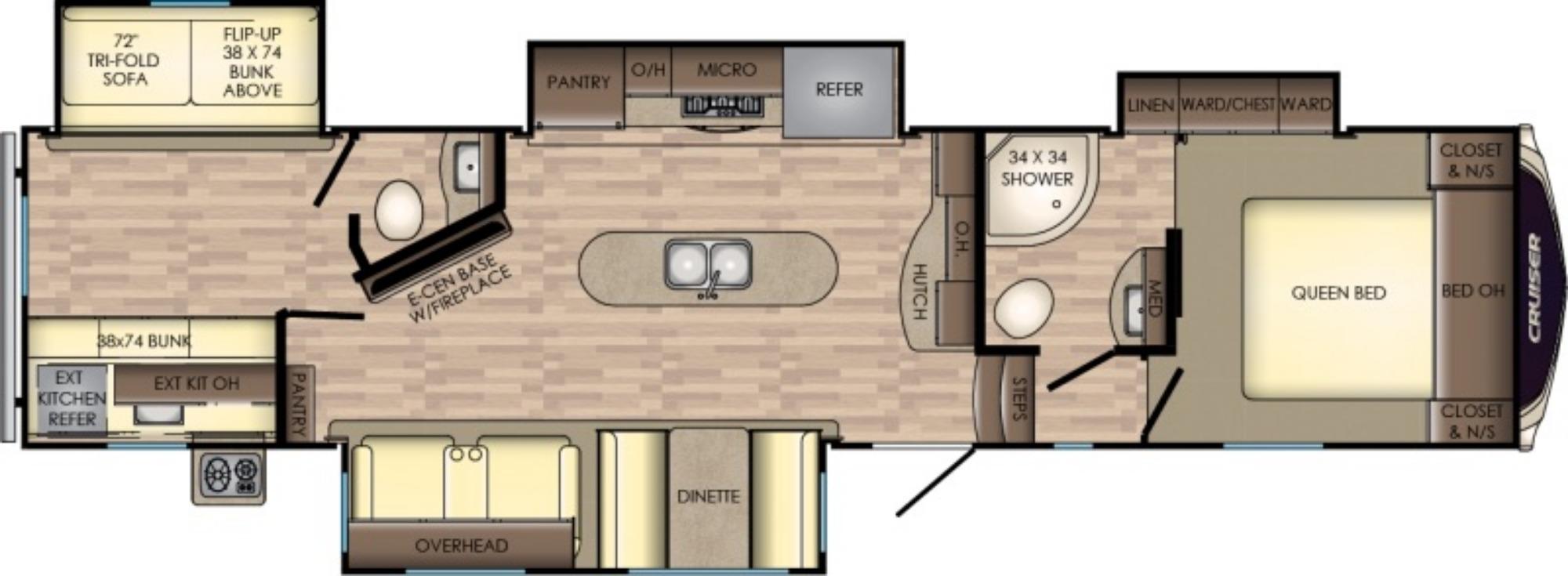 View Floor Plan for 2018 CROSSROADS CRUISER 3351BH