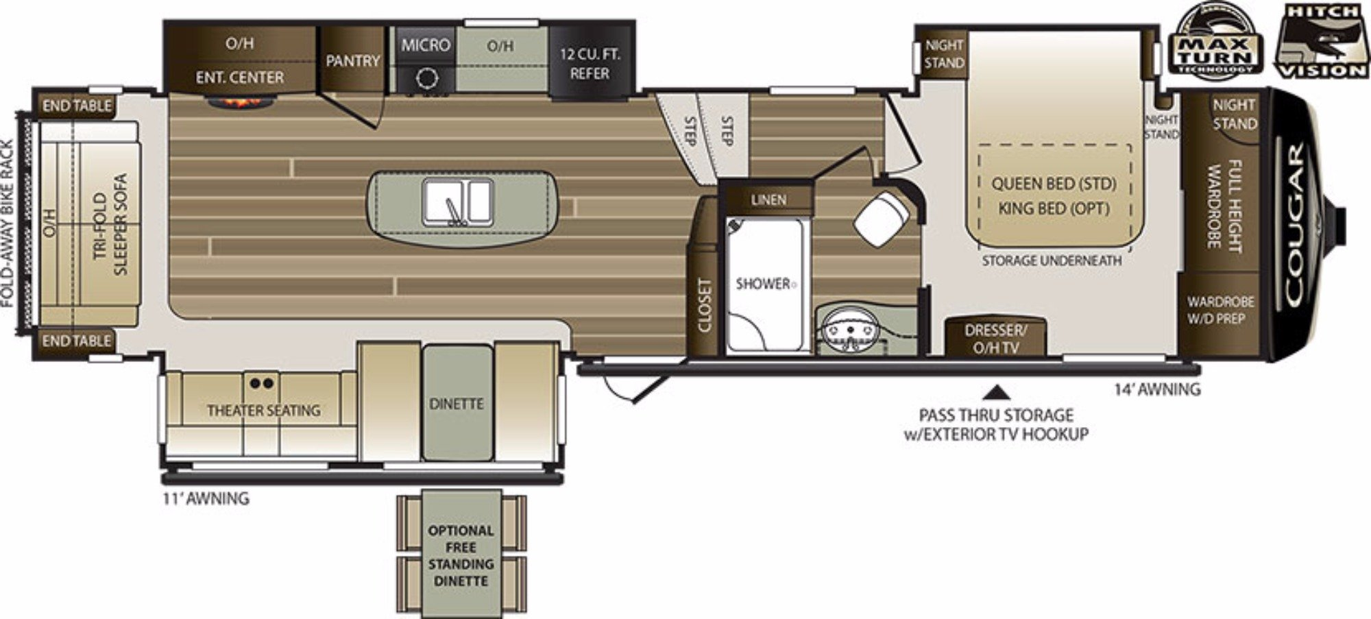 View Floor Plan for 2018 KEYSTONE COUGAR 344MKS