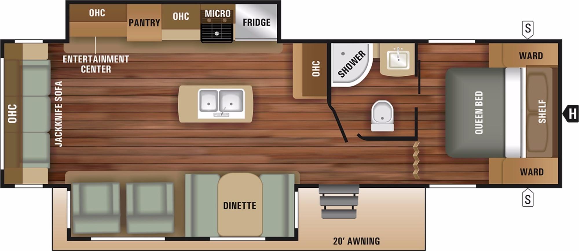 View Floor Plan for 2018 STARCRAFT AUTUMN RIDGE OUTFITTER 27RLI