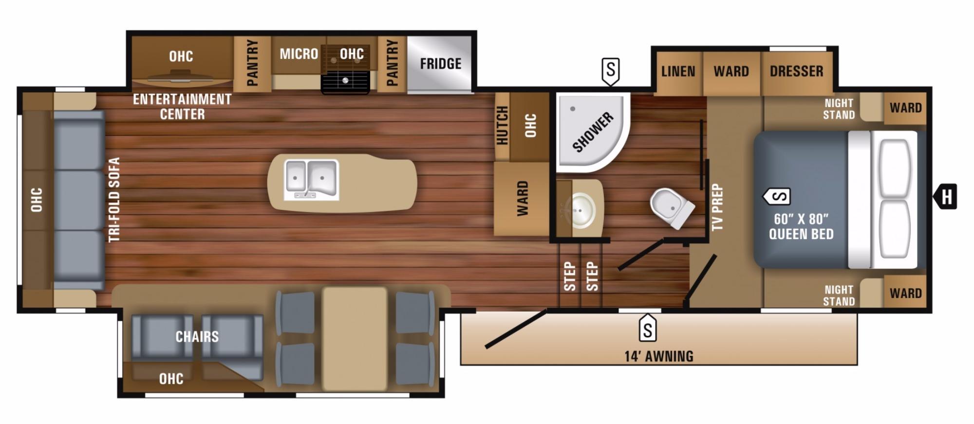 View Floor Plan for 2018 JAYCO EAGLE HT 30.5CKTS