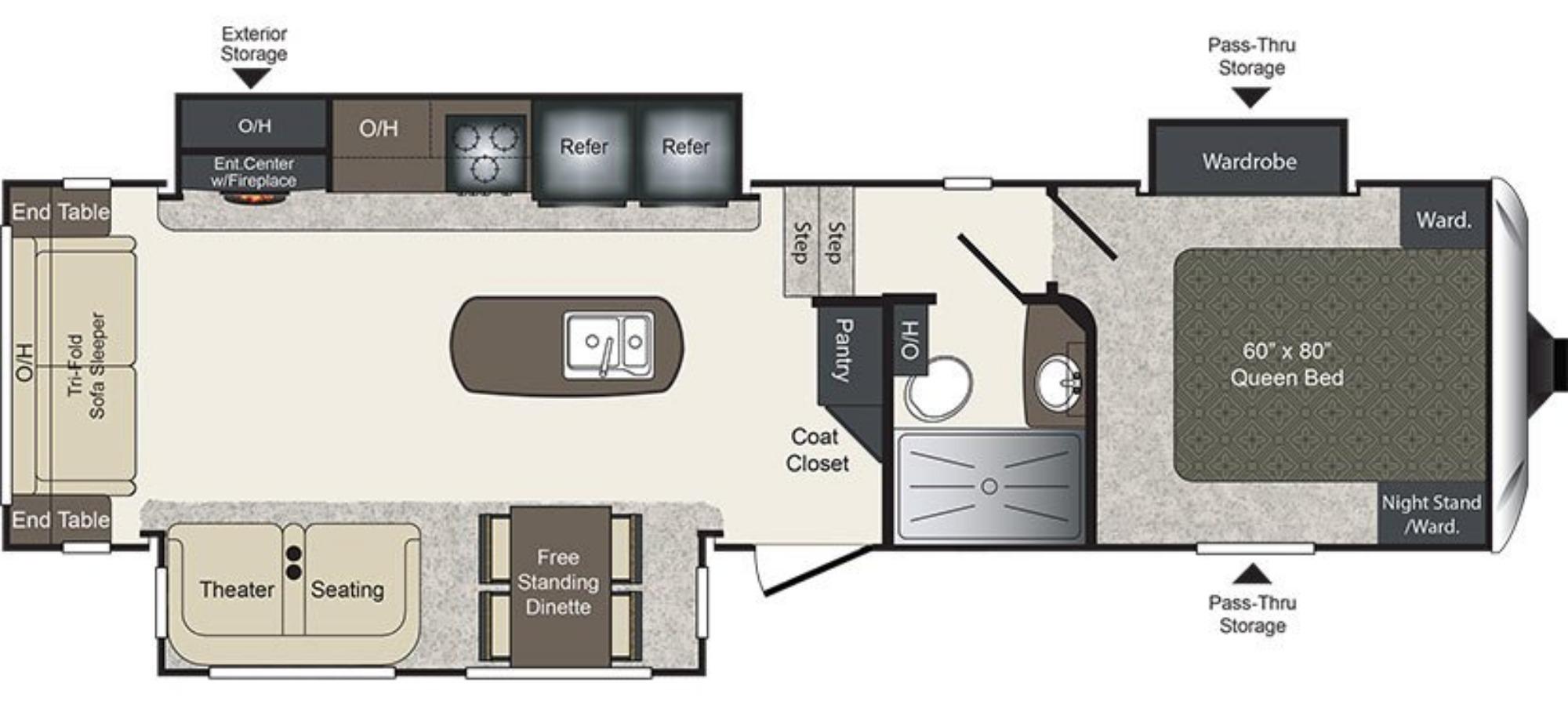 View Floor Plan for 2018 KEYSTONE LAREDO 290SRL